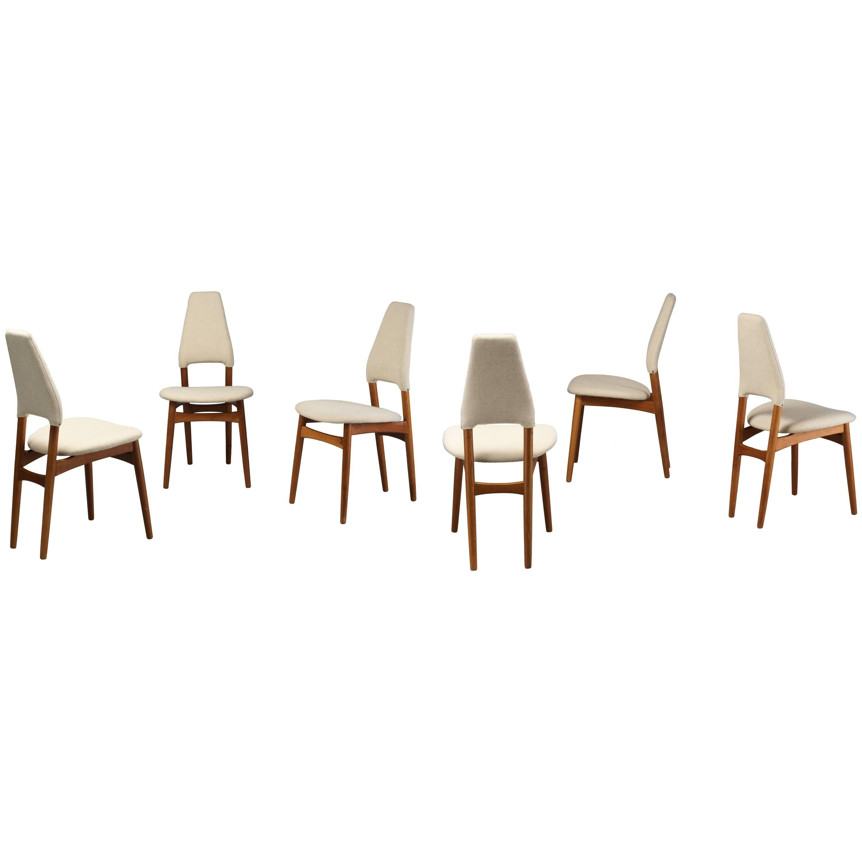 light oak dining chairs gaming amazon kurt ostervig six frame and beige fabric denmark for