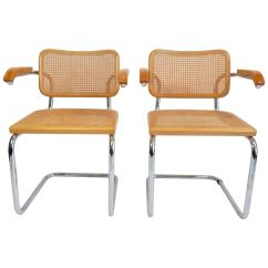 Marcel Breuer Cesca Chair With Armrests White Plastic Folding Chairs Pair Of 1970s For Sale At 1stdibs