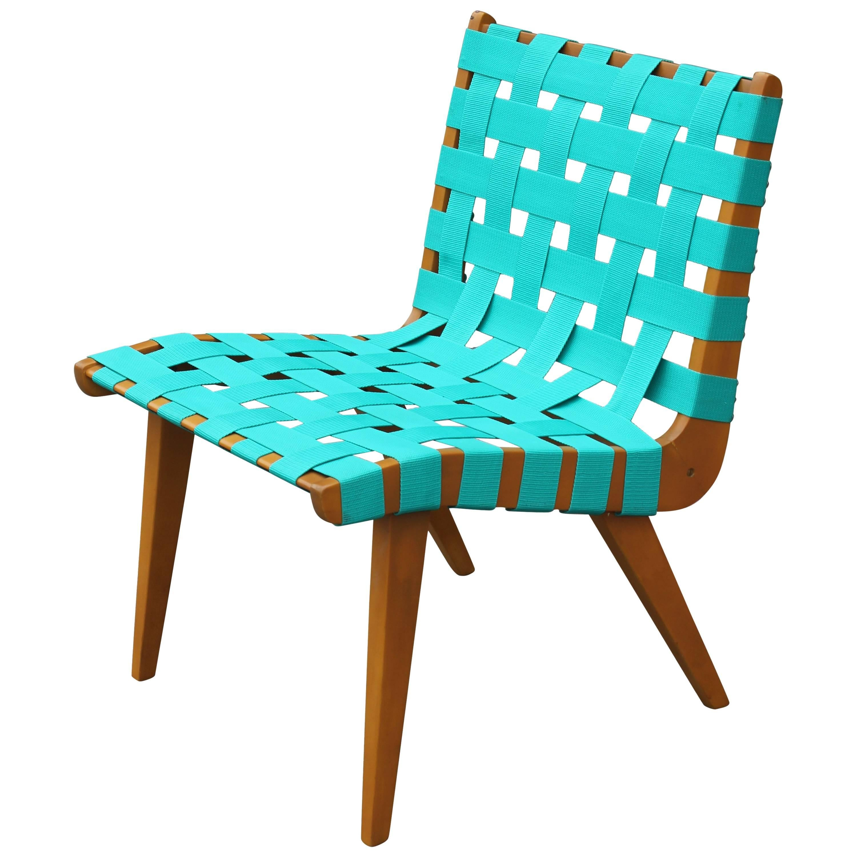turquoise lounge chair dog beds modern jens risom weaved strap for sale at