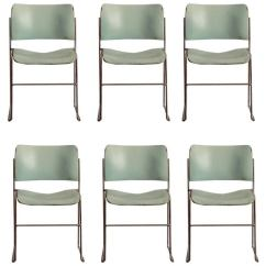 David Rowland Metal Chair White Table And Chairs Set Of Six Teal Chrome 40 4 Stacking For Sale