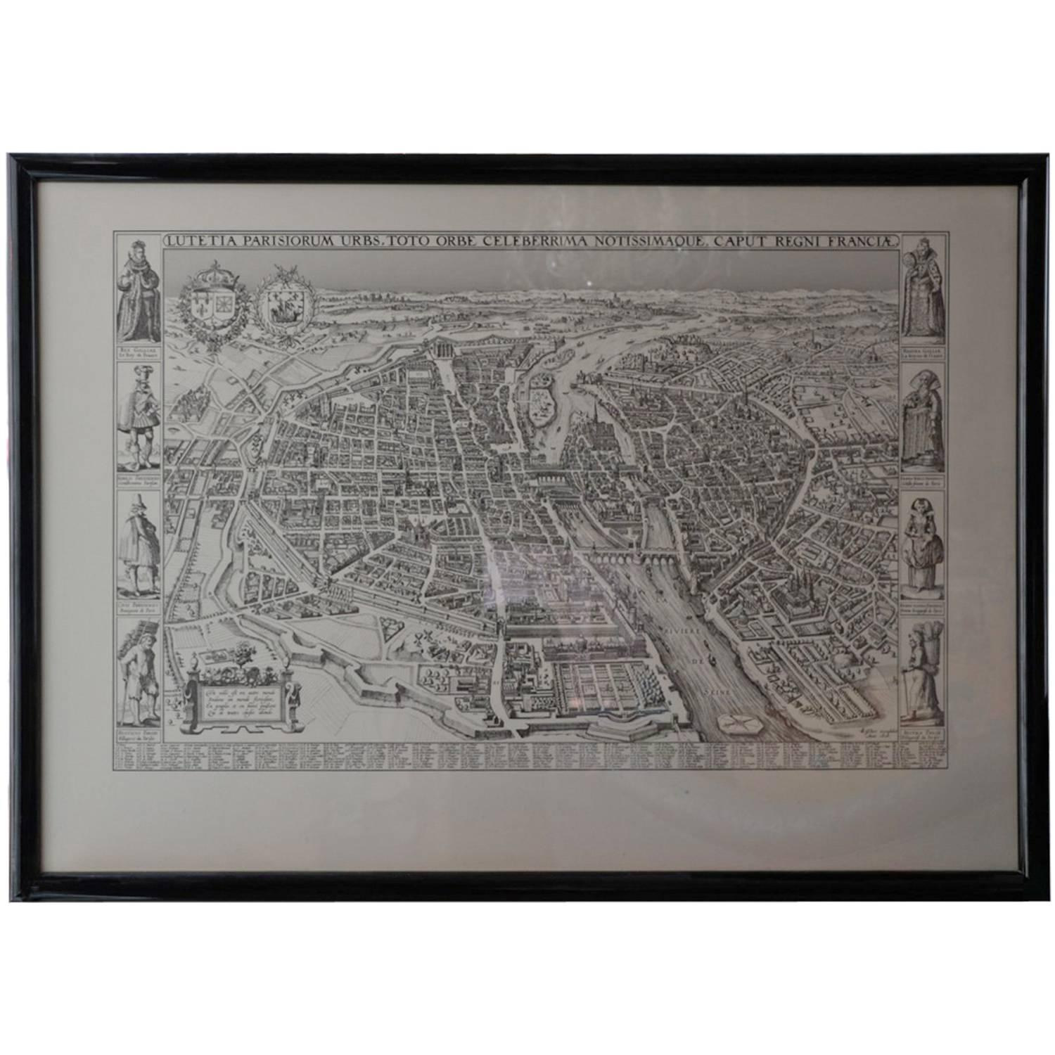 vintage framed french map