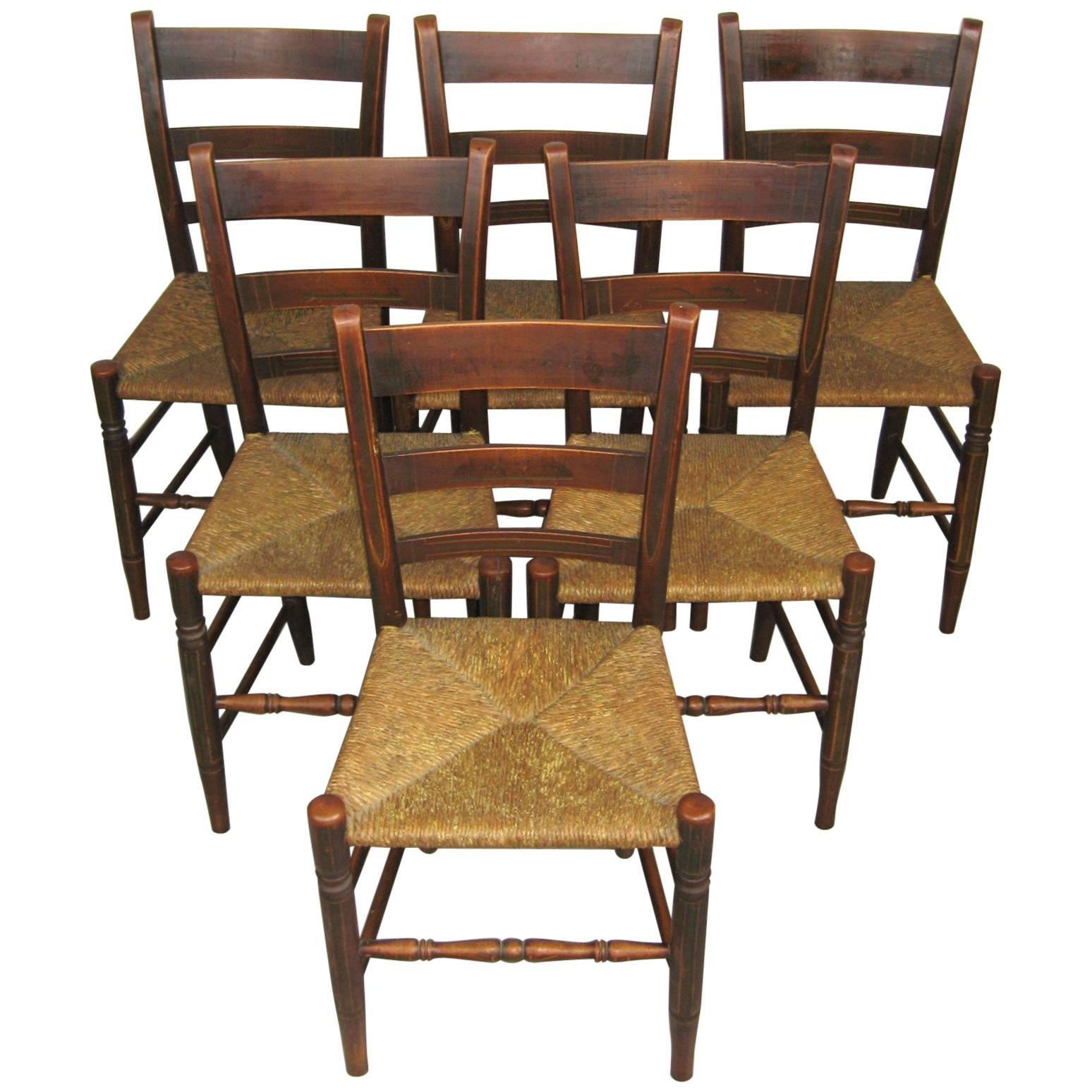 rush seat chairs chair cover rentals fresno ca antique 1820s set of six ladder back paint decorated for sale