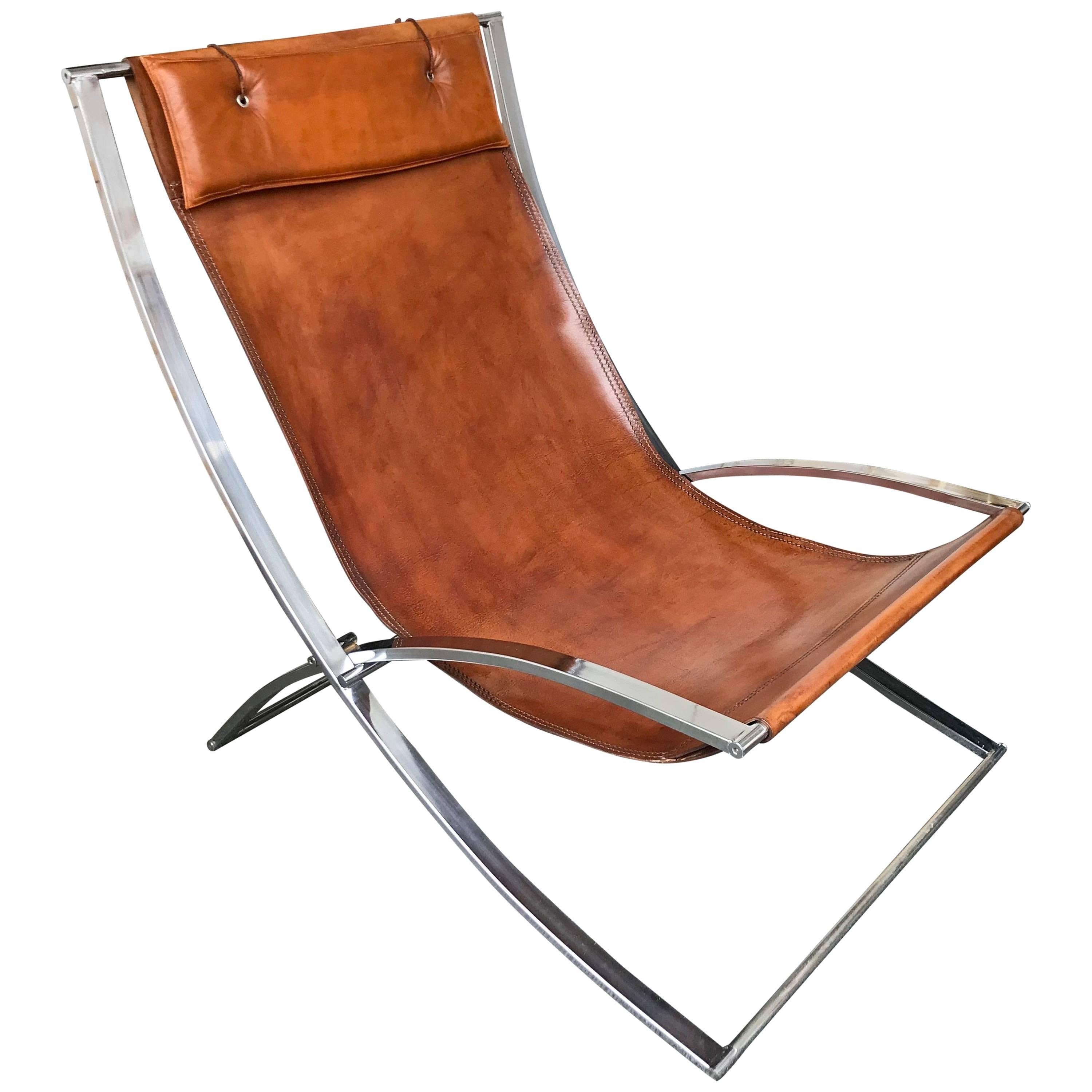 Famous Chair Lounge Chair Leather And Chrome By Marcello Cuneo Italy 1970s