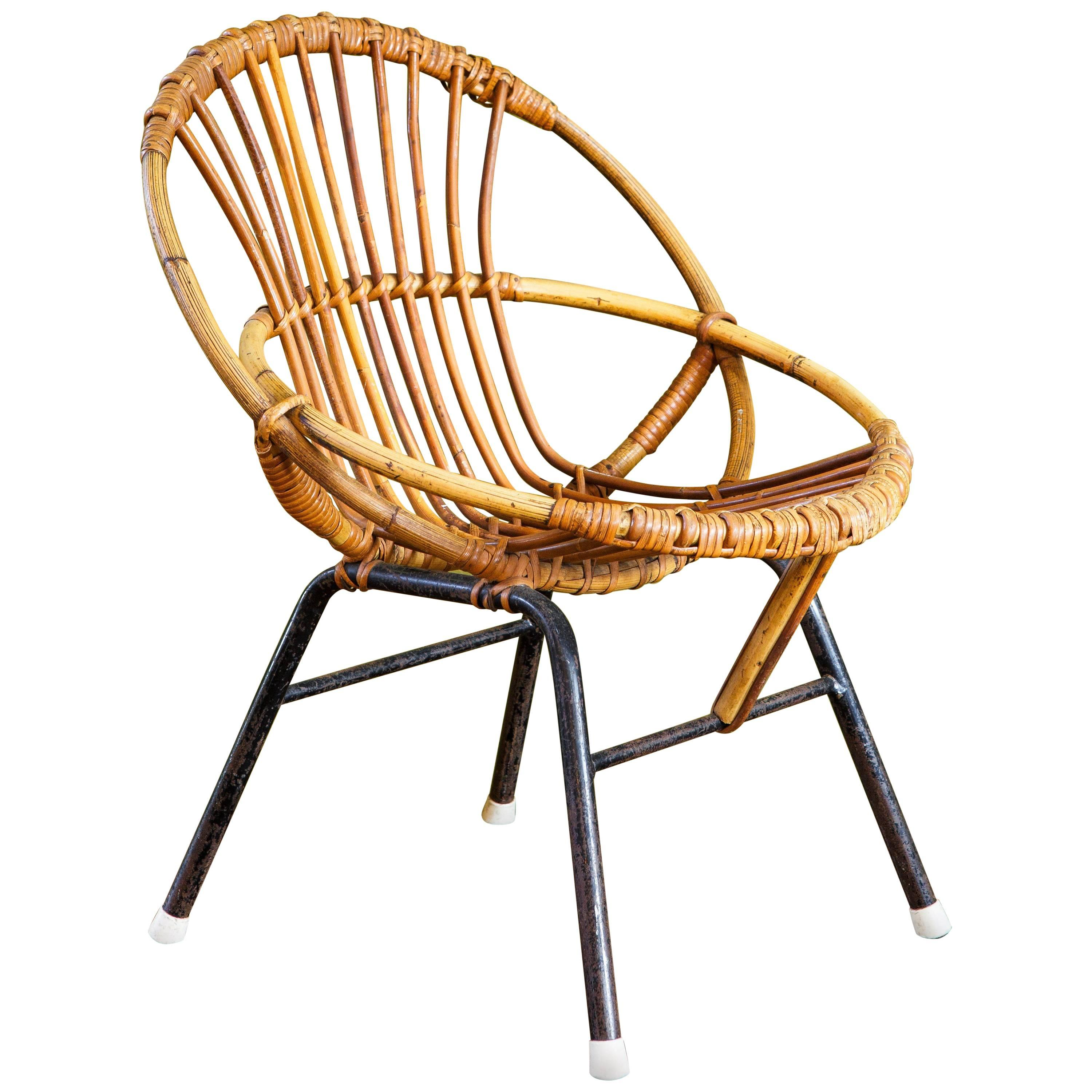 childs rattan chair eames aluminum group lounge bamboo with metal legs child s by rohe noordwolde at for sale