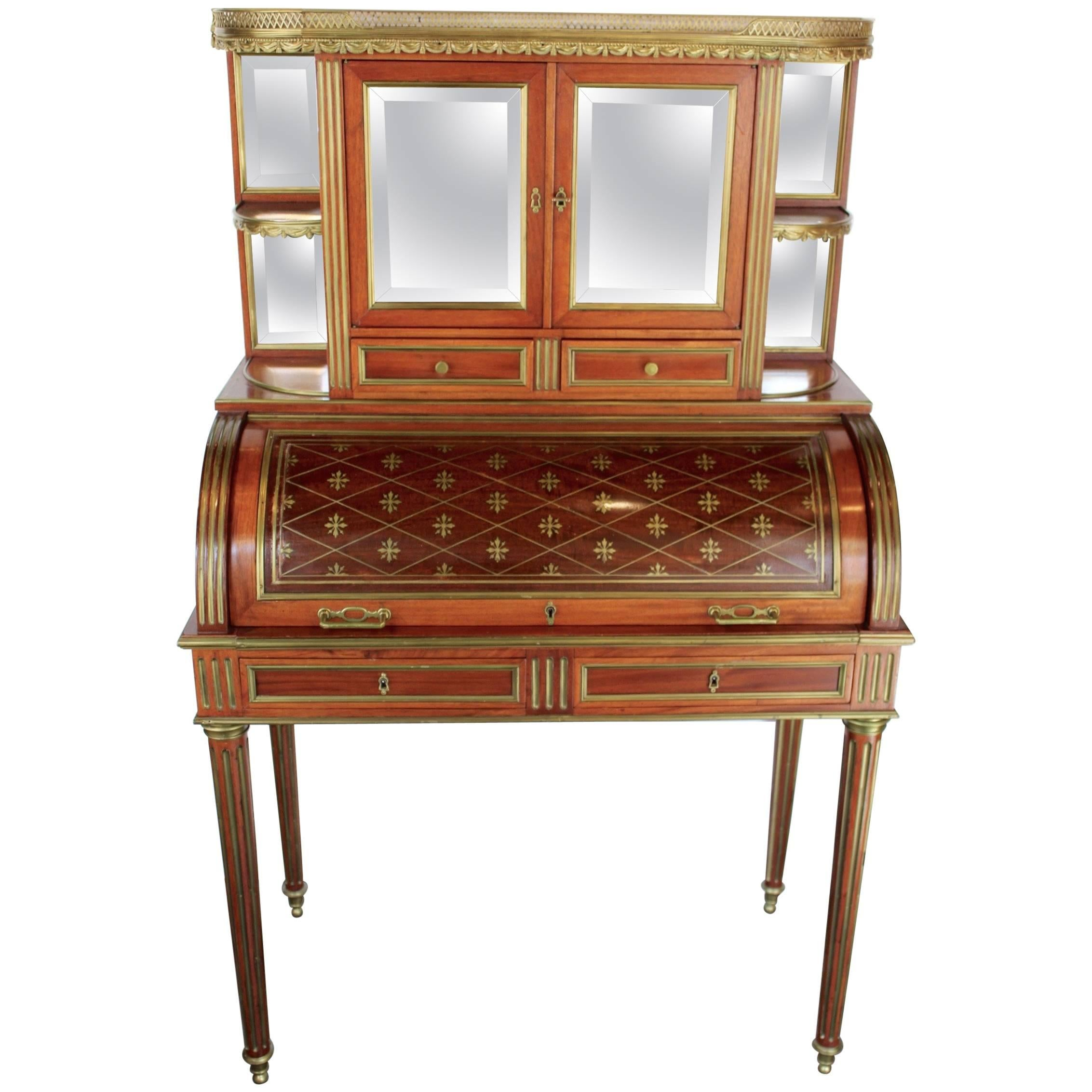french 19th century mahogany veneer and brass inlaid bureau a cylindre