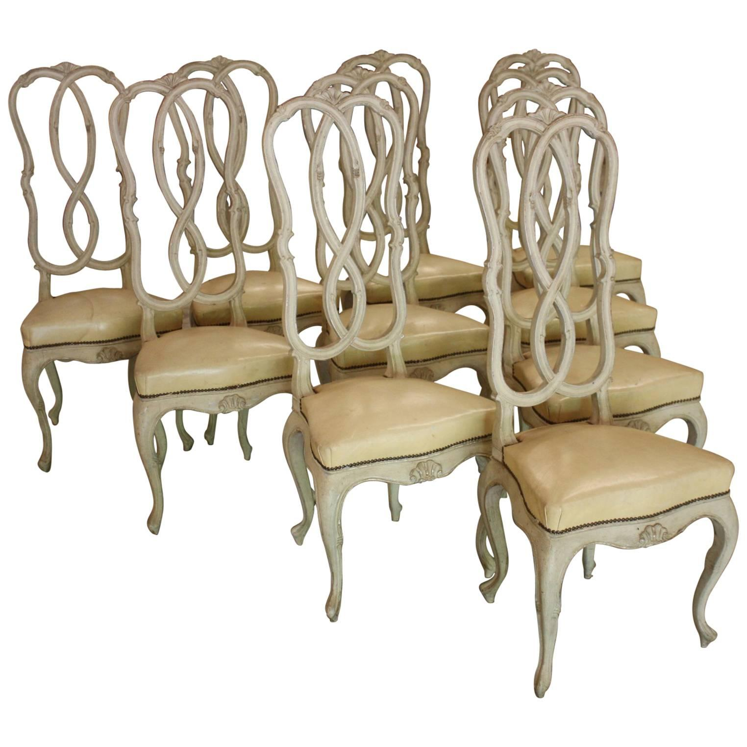 Italian Dining Chairs Set Of Ten Italian Dining Chairs