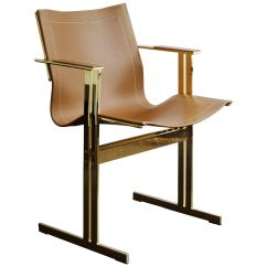 Desk Chair Brown Leather Oxo Tot Seedling High Recall Modern Contemporary Dining Office And Gold Brass Plated For Sale