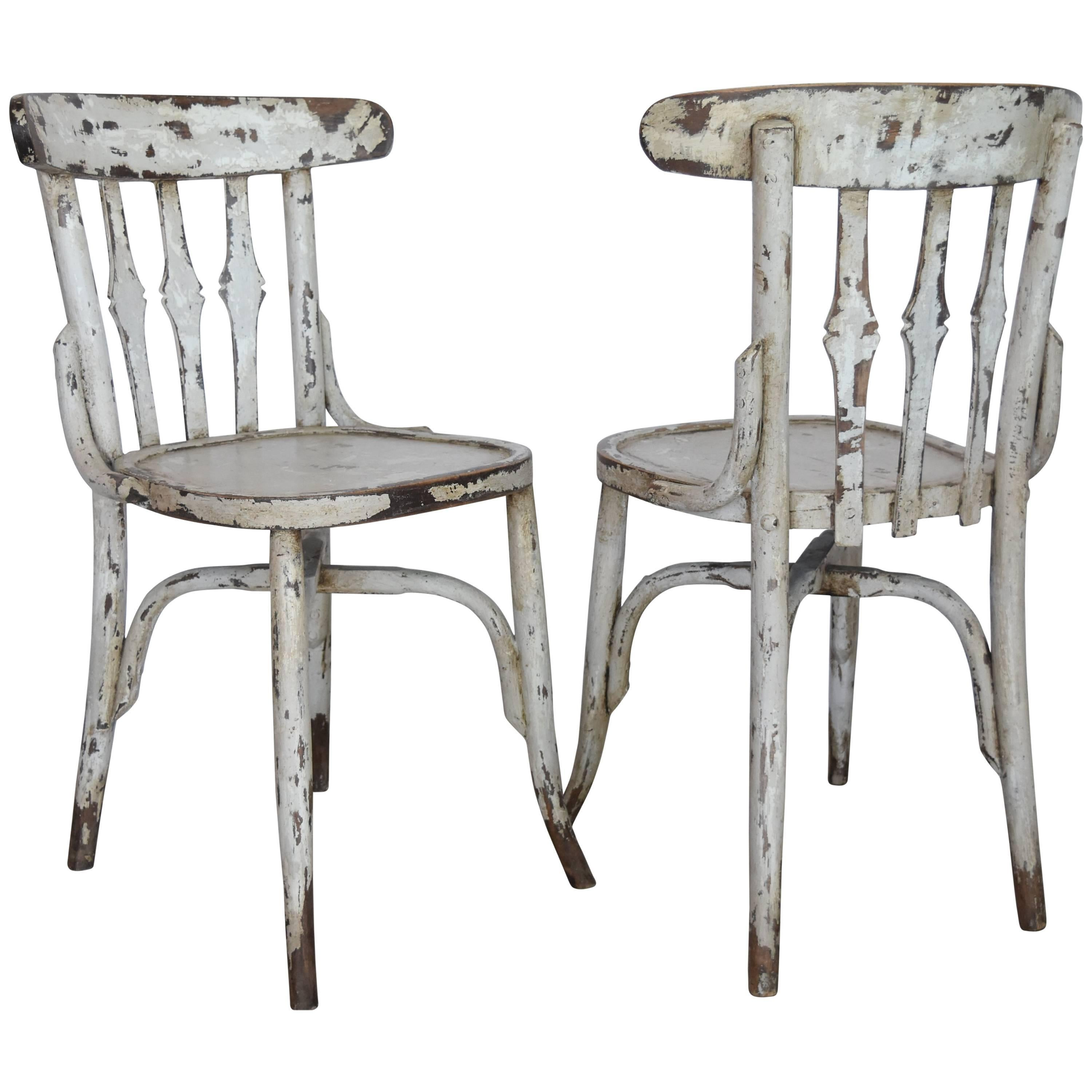 cafe chairs wooden massage chair while pregnant 1950s spanish bistro with light gray paint for sale