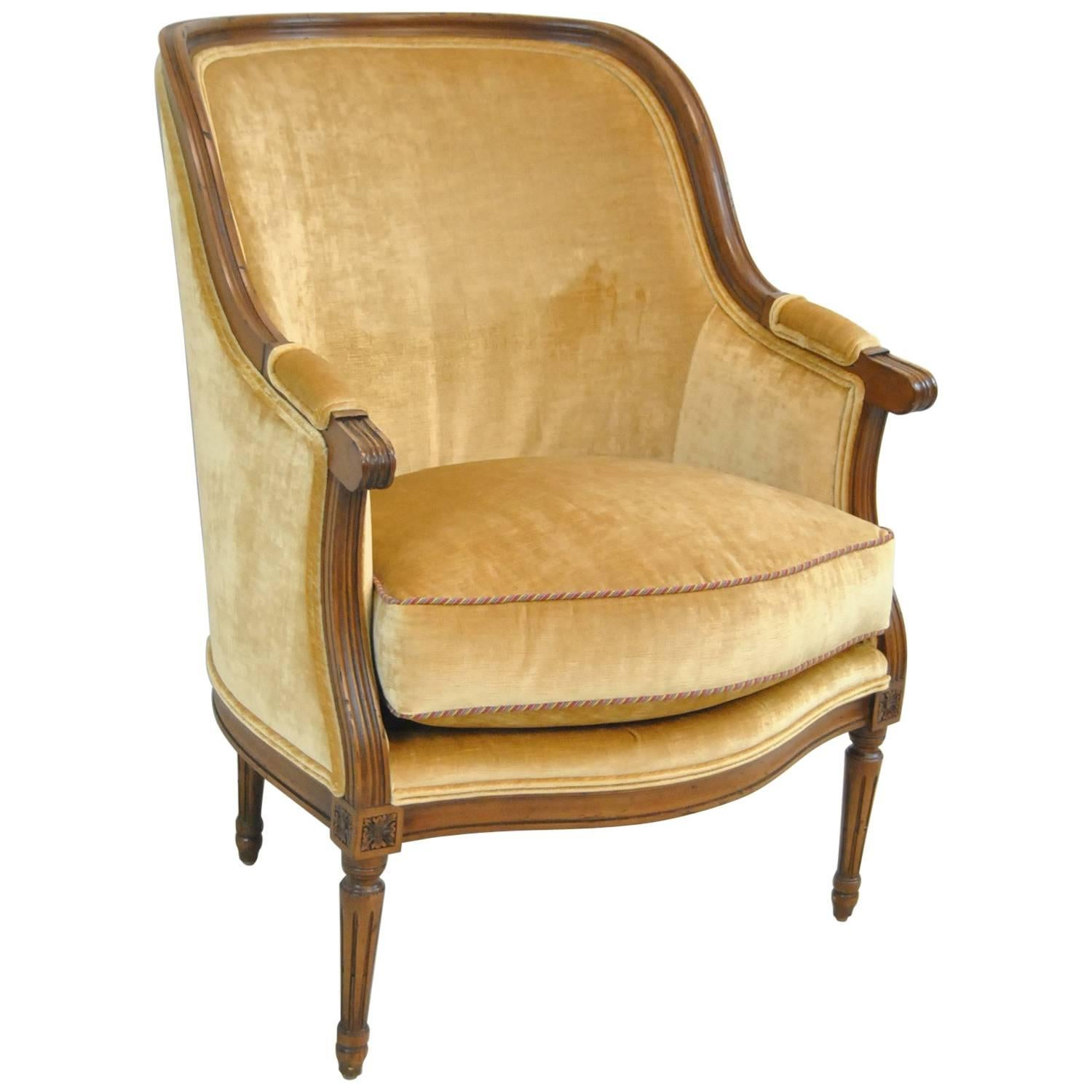 French Upholstered Bergere Chair by Isenhour Furniture For