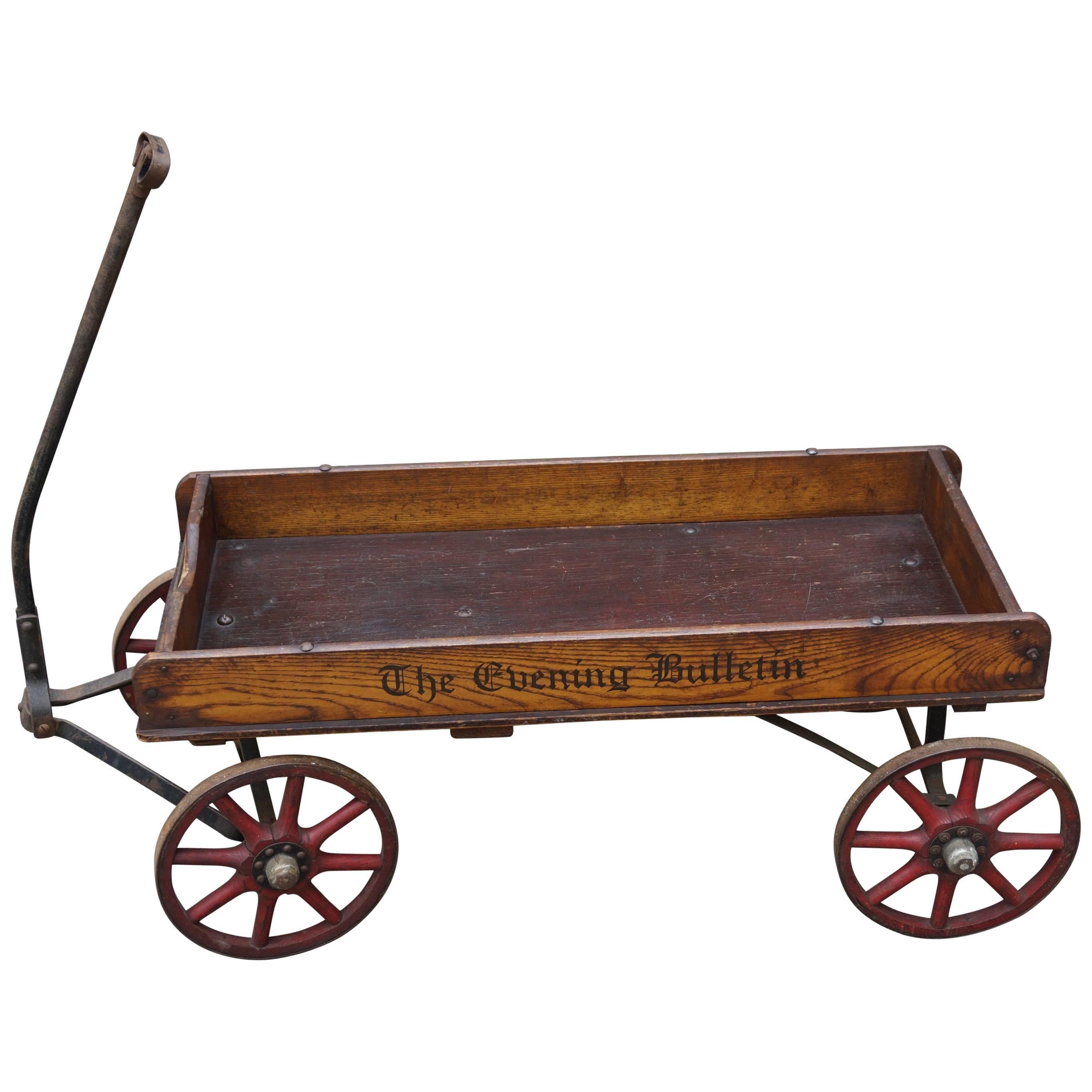 antique american newspaper cart