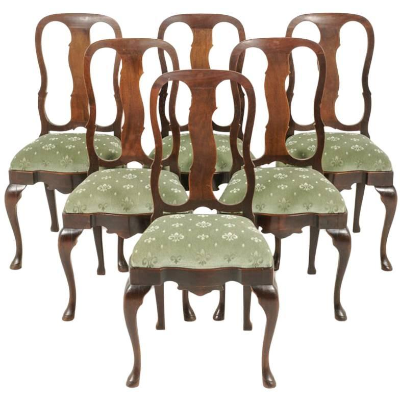 queen anne style chairs hanging chair toowoomba set of six mahogany at 1stdibs for sale