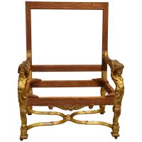 Louis XIV Style Chair, Silk Damask Upholstery For Sale at ...