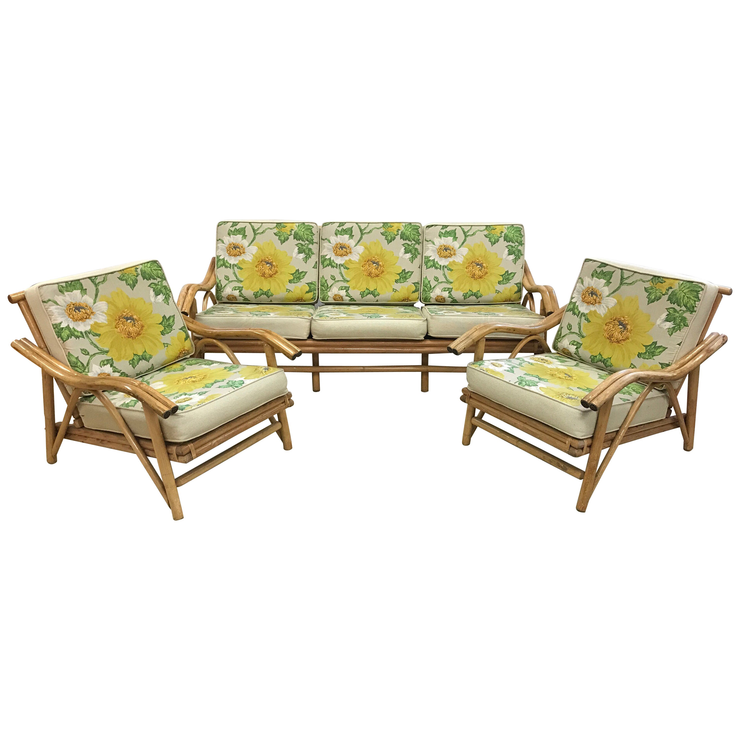 bamboo couch and chairs best swivel glider barrel chair vintage mid century modern matching sofa two at 1stdibs