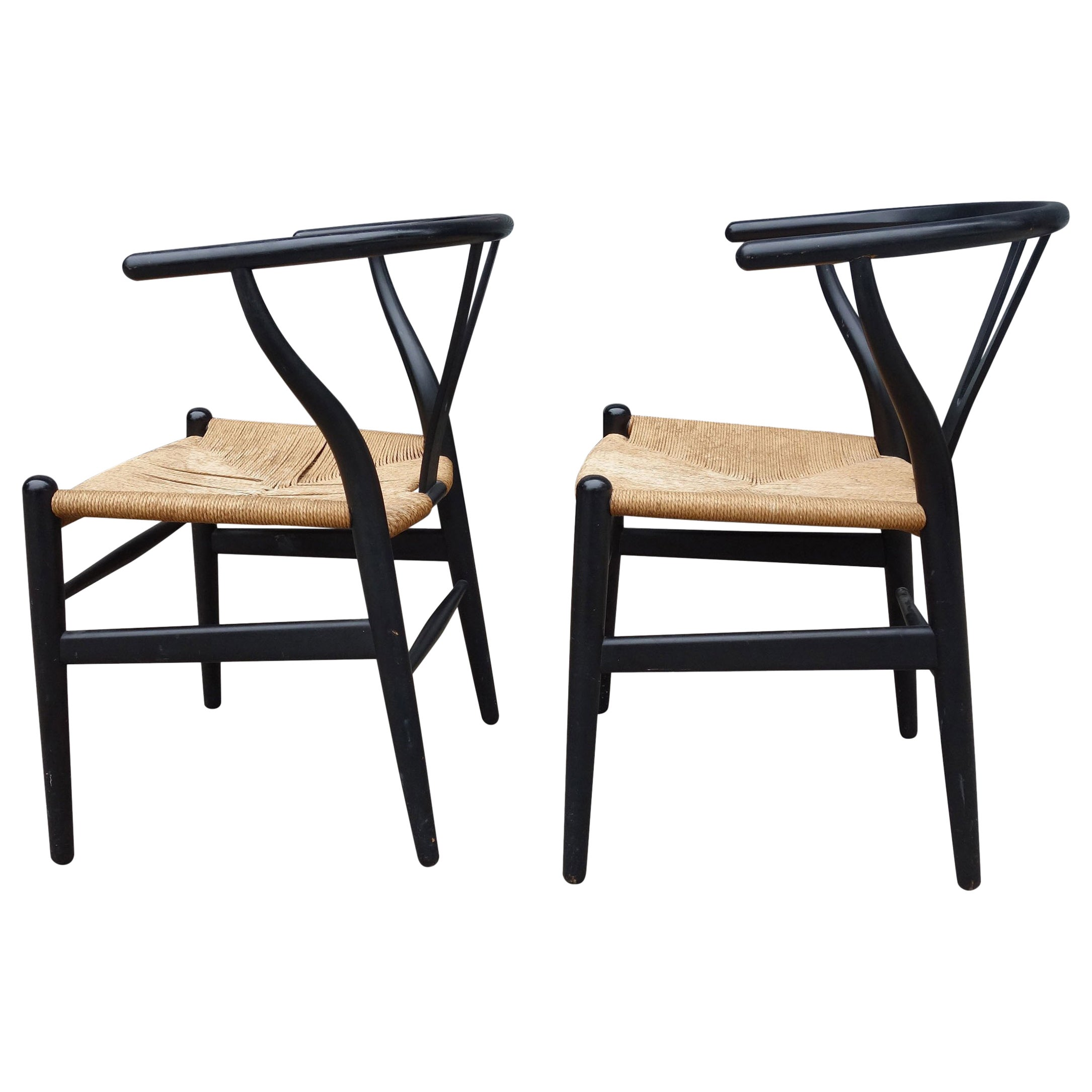Wishbone Chairs Midcentury Hans Wegner Wishbone Chairs