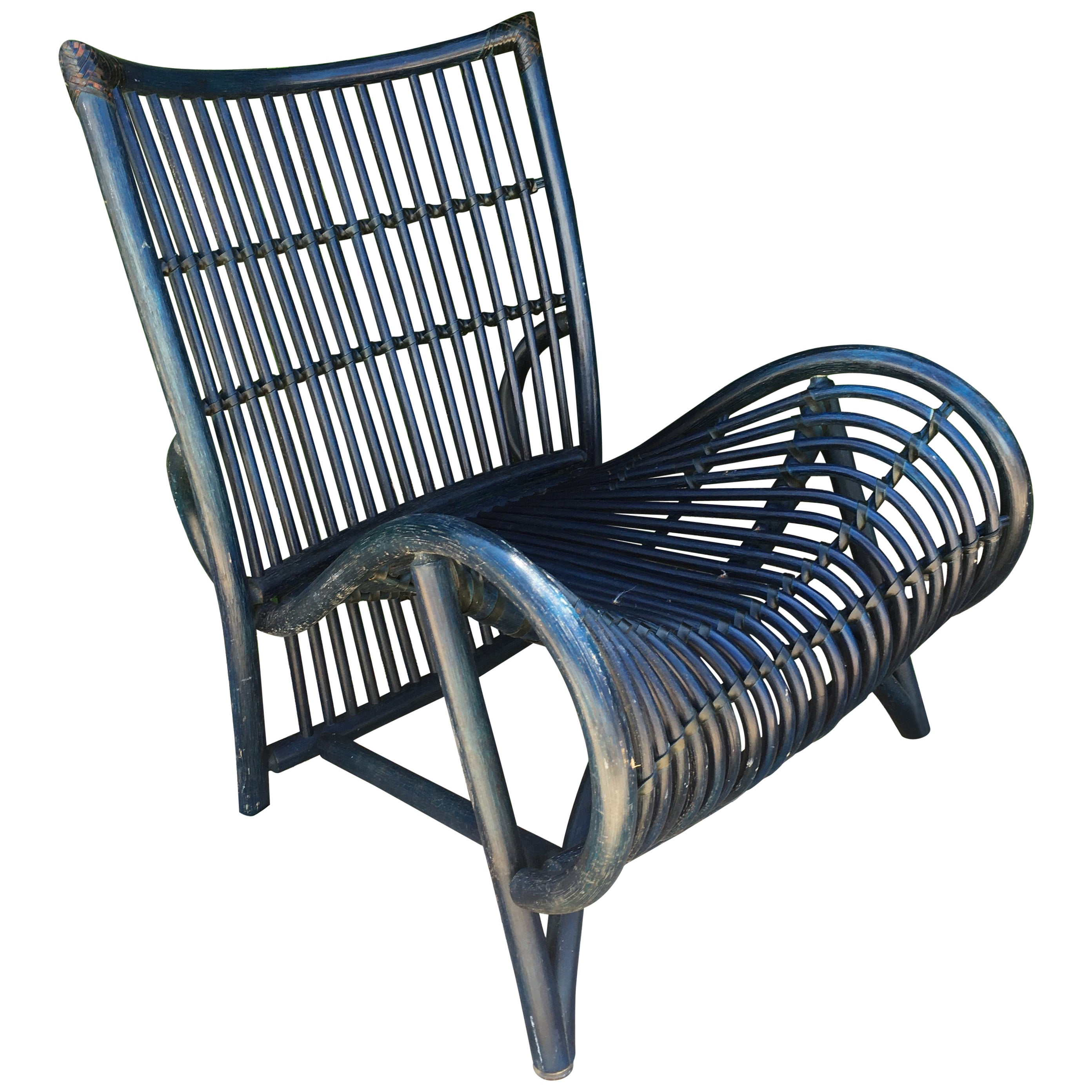 comfortable wicker chairs green chair movie large blue for sale at 1stdibs