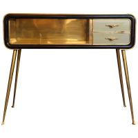 Mid-Century Modern Mahogany Wood, Green Glass with Brass ...