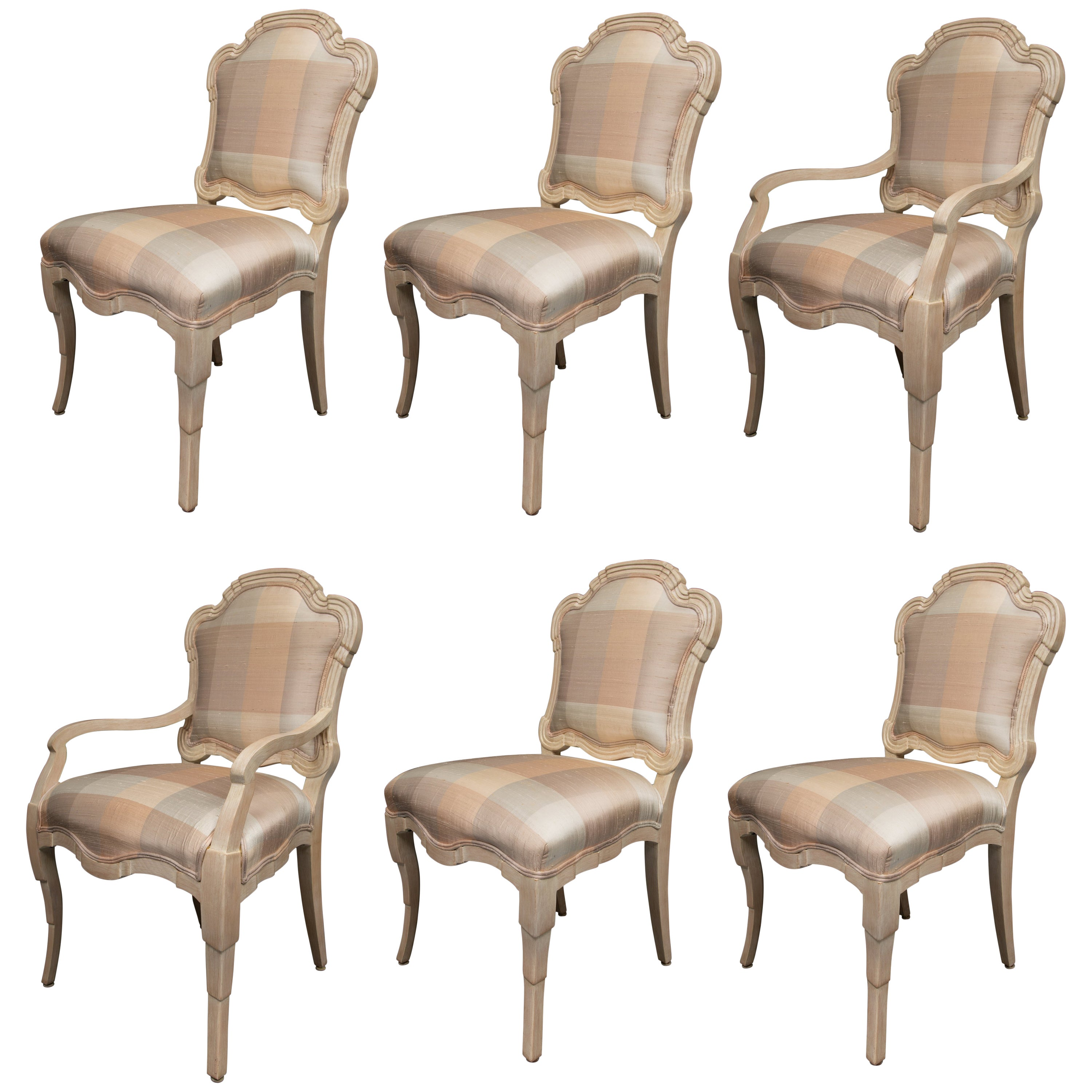 cream upholstered dining chairs revolving chair on gem set of six painted stylized louis xvi style for sale at 1stdibs