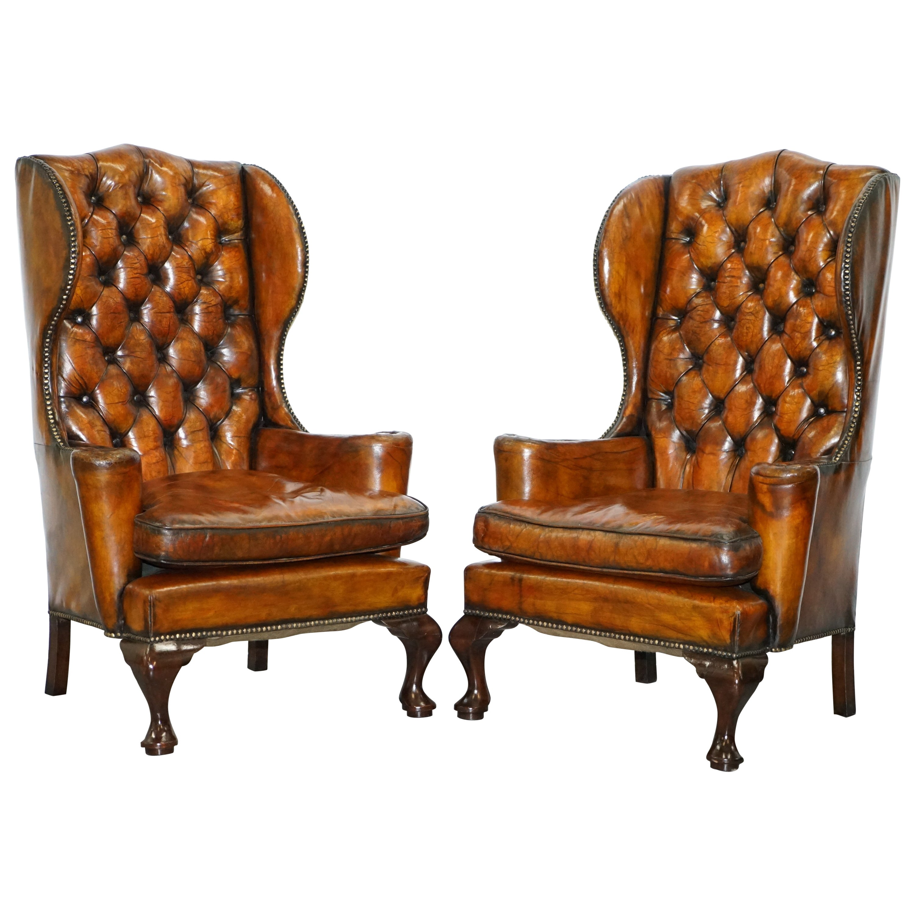 Brown Leather Wingback Chair Thomas Chippendale Chesterfield Victorian Wingback Armchairs Brown Leather Pair