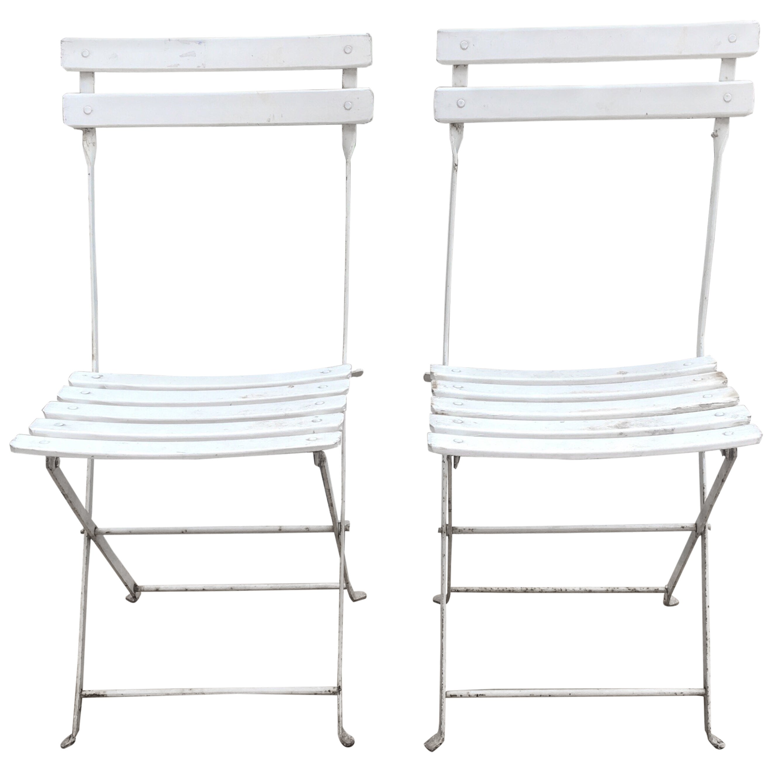 White Bistro Chairs Pair Of French White Bistro Folding Chairs