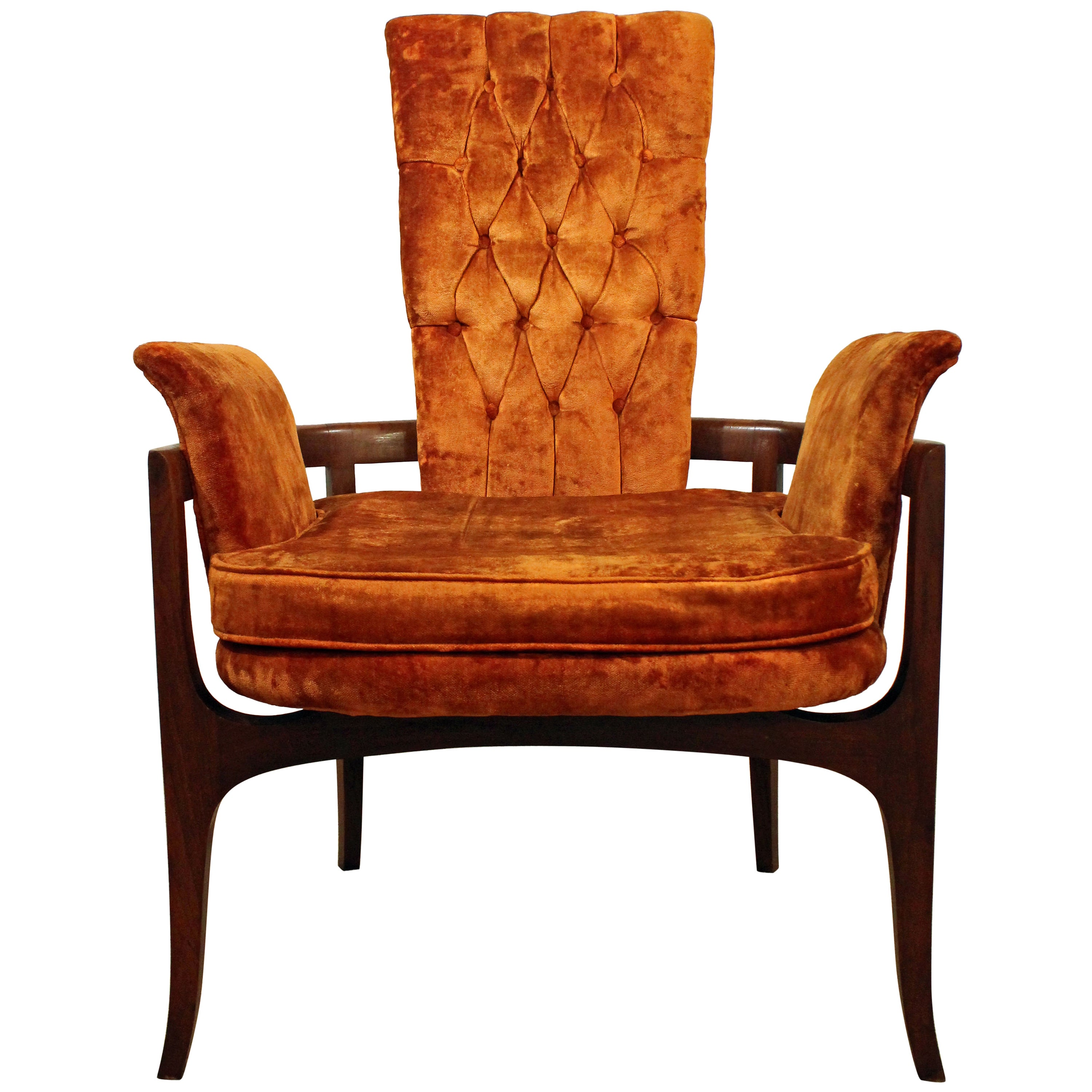 Mid Century Modern Accent Chair Mid Century Modern Regency Walnut Open Arm Or Accent Chair