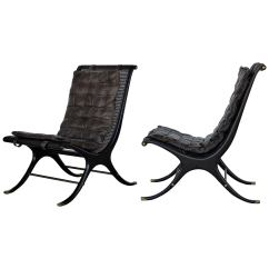 Jerome's Swivel Chairs Metal And Leather Dining Chair Gerald Jerome Pair Of Cane Lounge For Heritage 1960s At 1stdibs