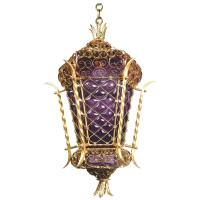 Bohemian Chic' Caged Purple Glass and Gold Pendant Lamp ...