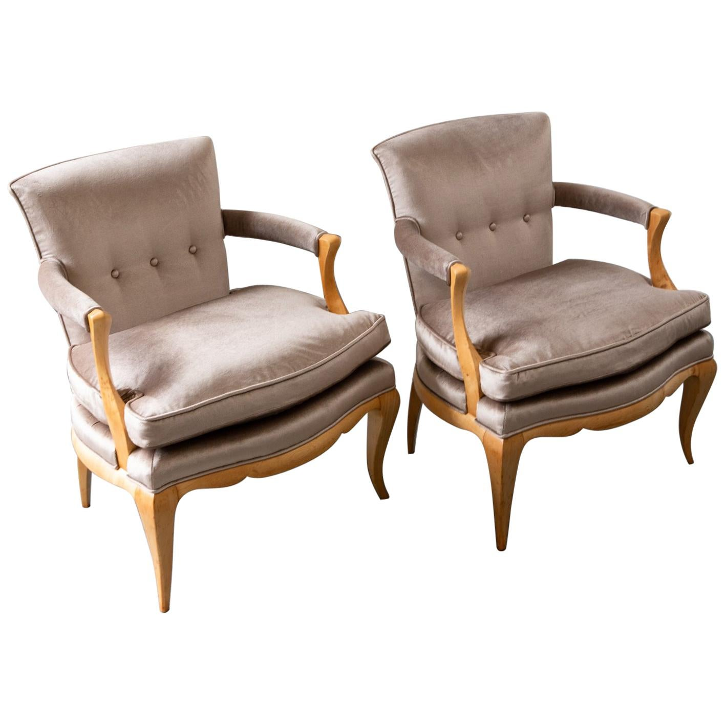 Art Deco Pair Of Palissander Armchairs By Mile Jacques