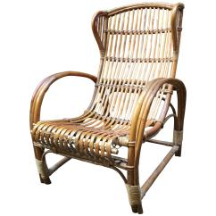 Rattan Wingback Chairs Wheelchair Belt Italian Armchair For Sale At 1stdibs