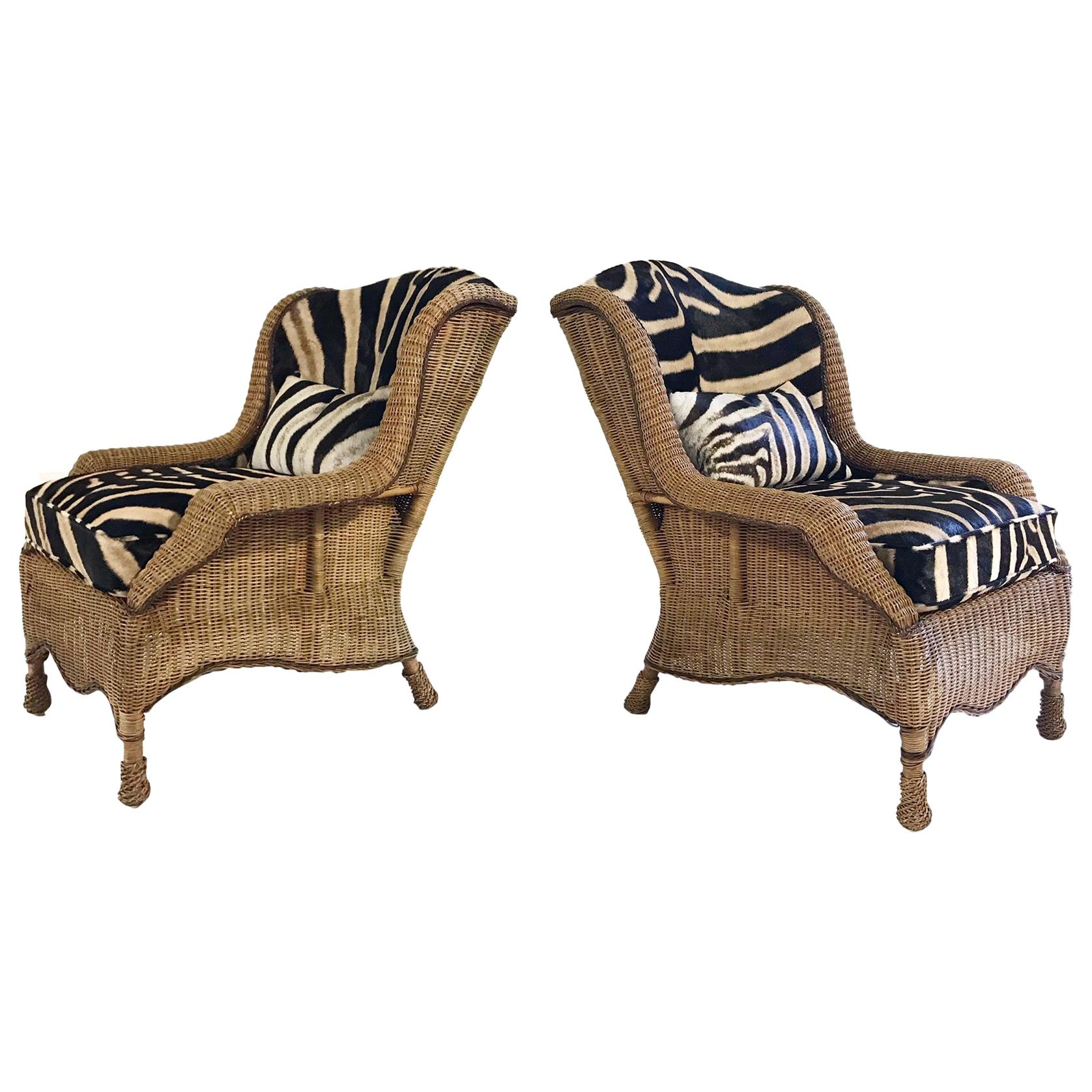 wicker wingback chairs pink rocking chair cushions vintage ralph lauren restored in zebra hide pair for sale