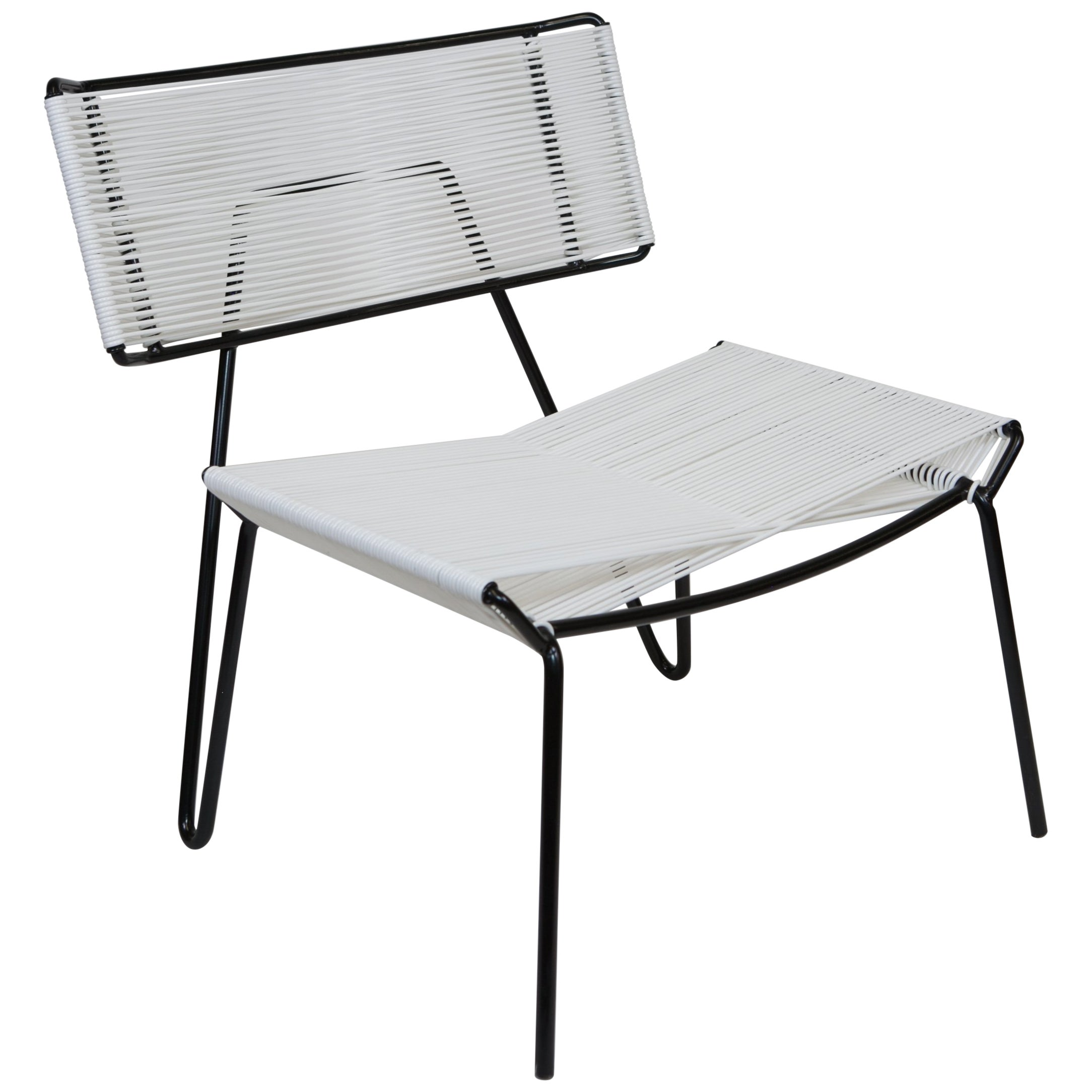 White Outdoor Lounge Chair Handmade Midcentury Style Outdoor Lounge Chair Black With White Pvc In Stock