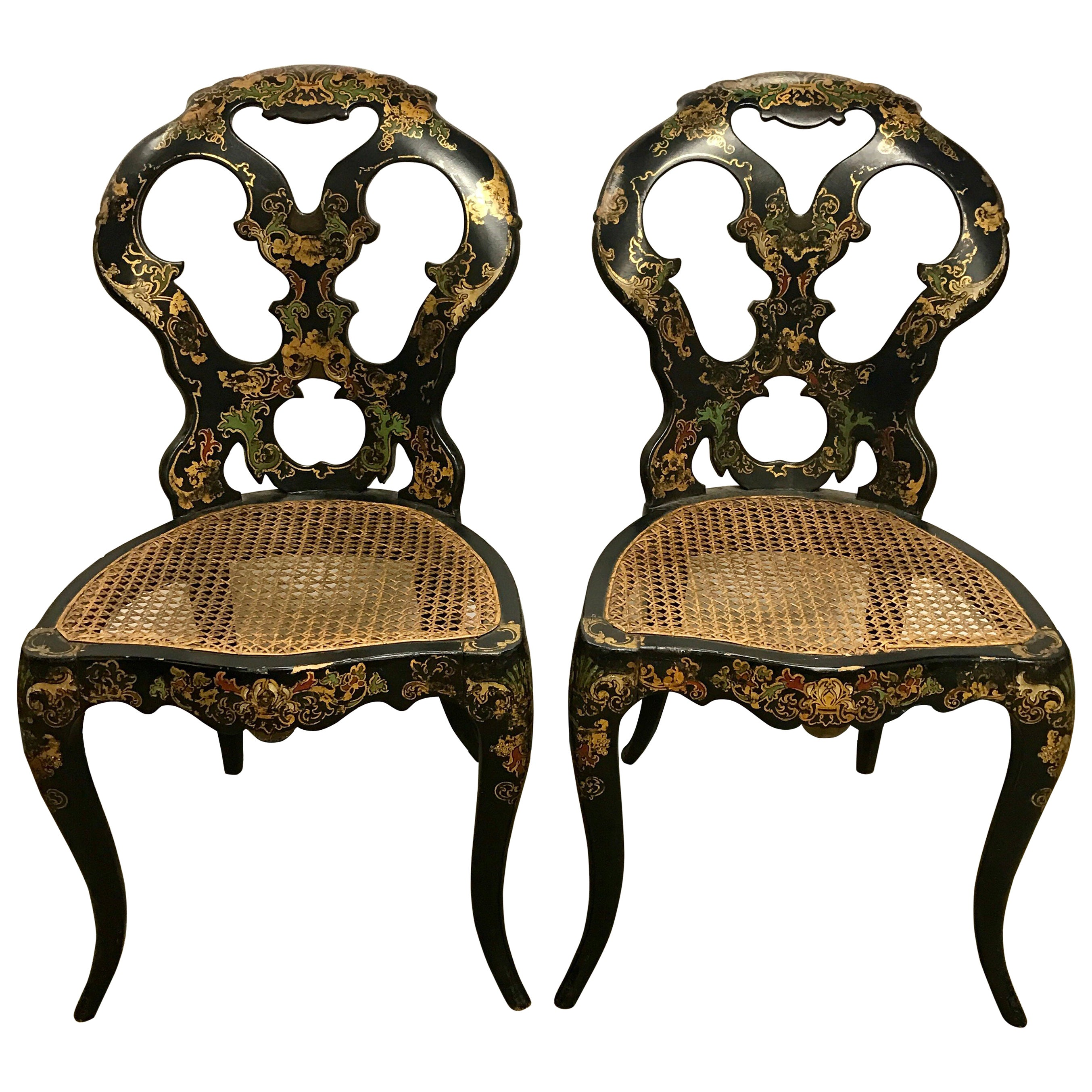 antique cane chairs oversized banquet chair covers pair of black japanned japan seats for sale at 1stdibs