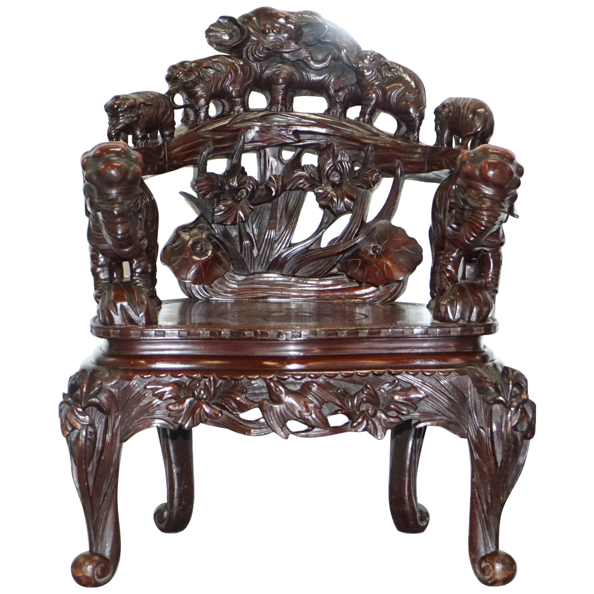 Japanese Chair Rare Qing Dynasty Circa 1860 Heavy Hand Carved Elephant Chair Japanese Chinese