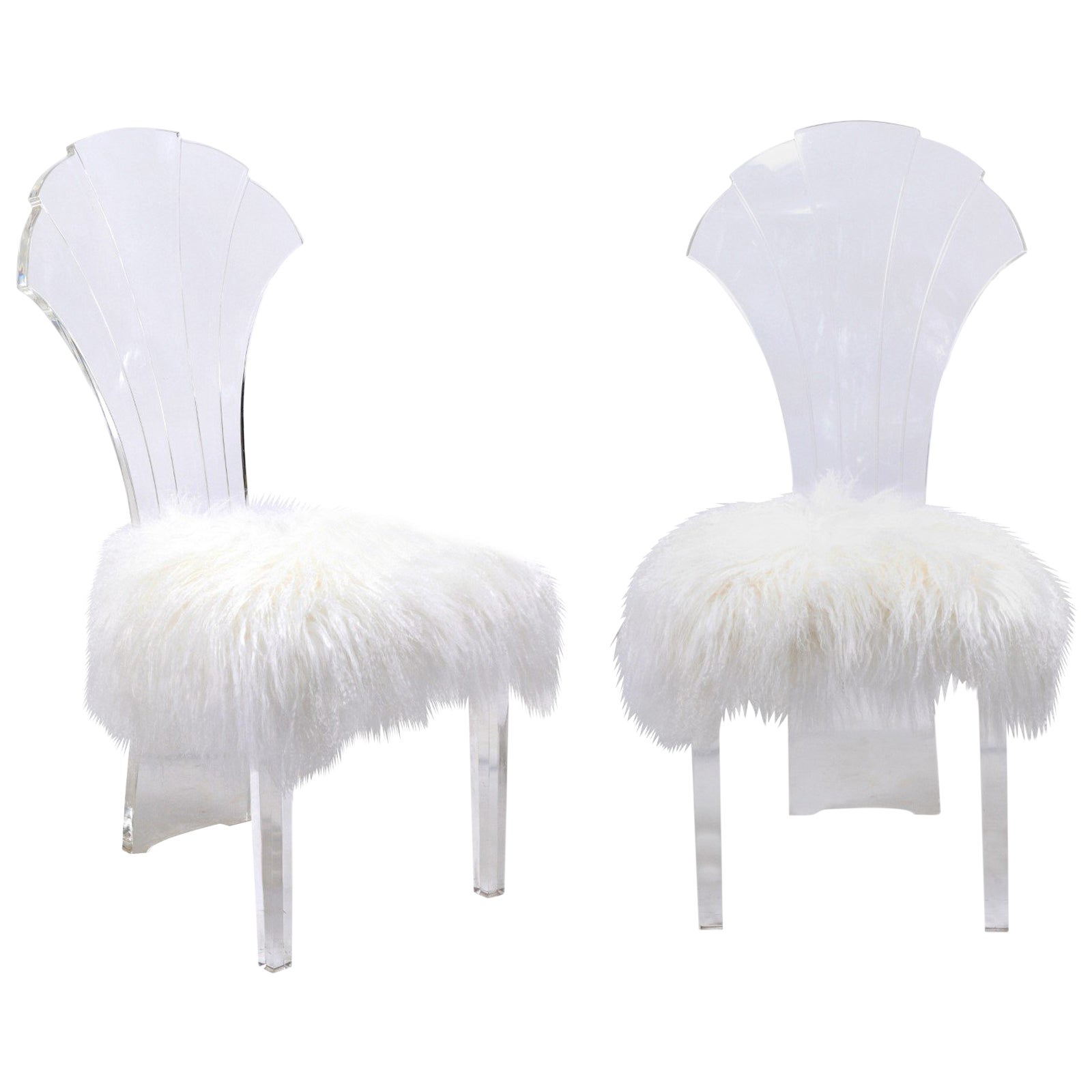 Lucite Chair Vintage Italian Midcentury Lucite Chair With Mongolian Fur And Scalloped Back