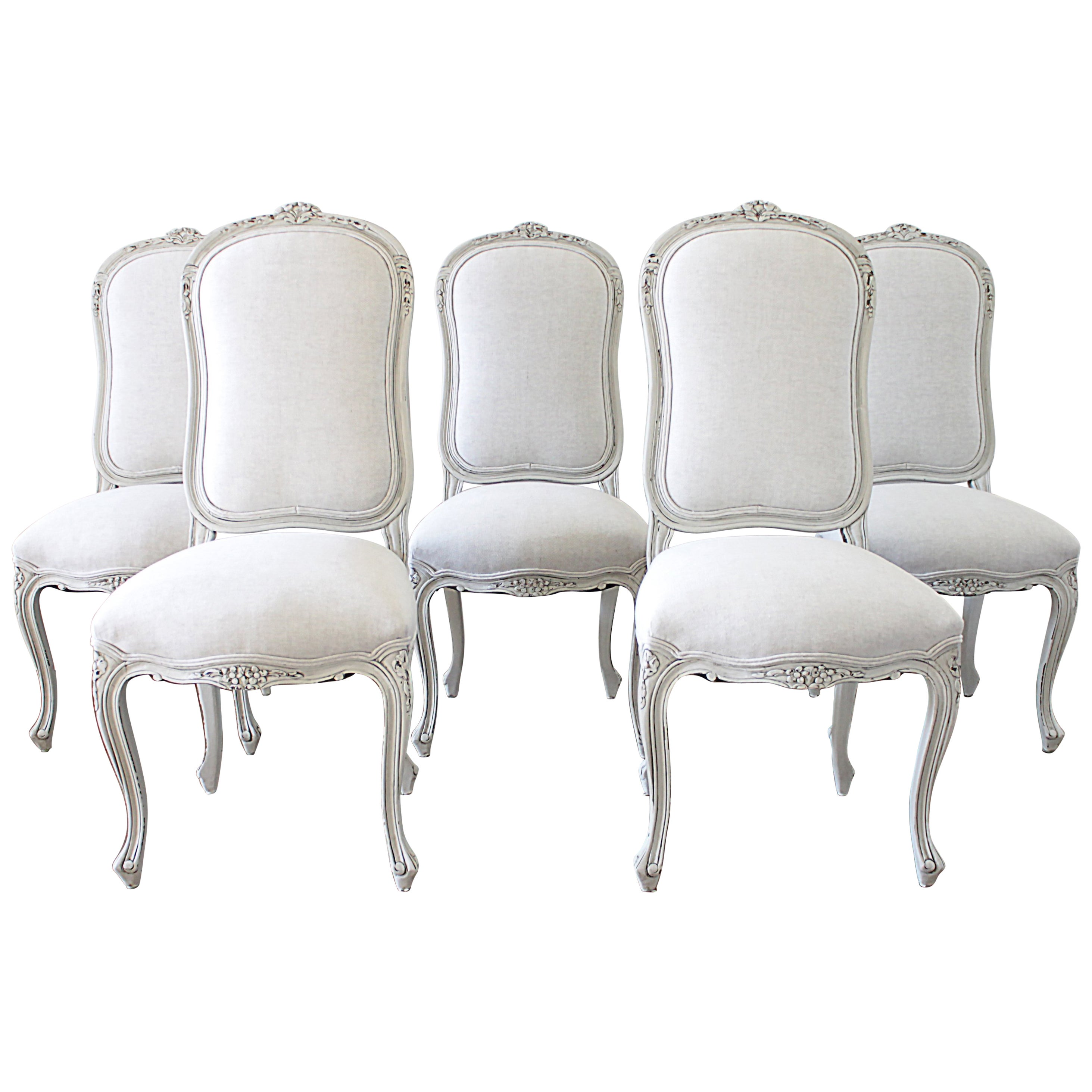 White Dining Room Chair Set Of 5 Painted And Upholstered Dining Room Chairs In Belgian Linen