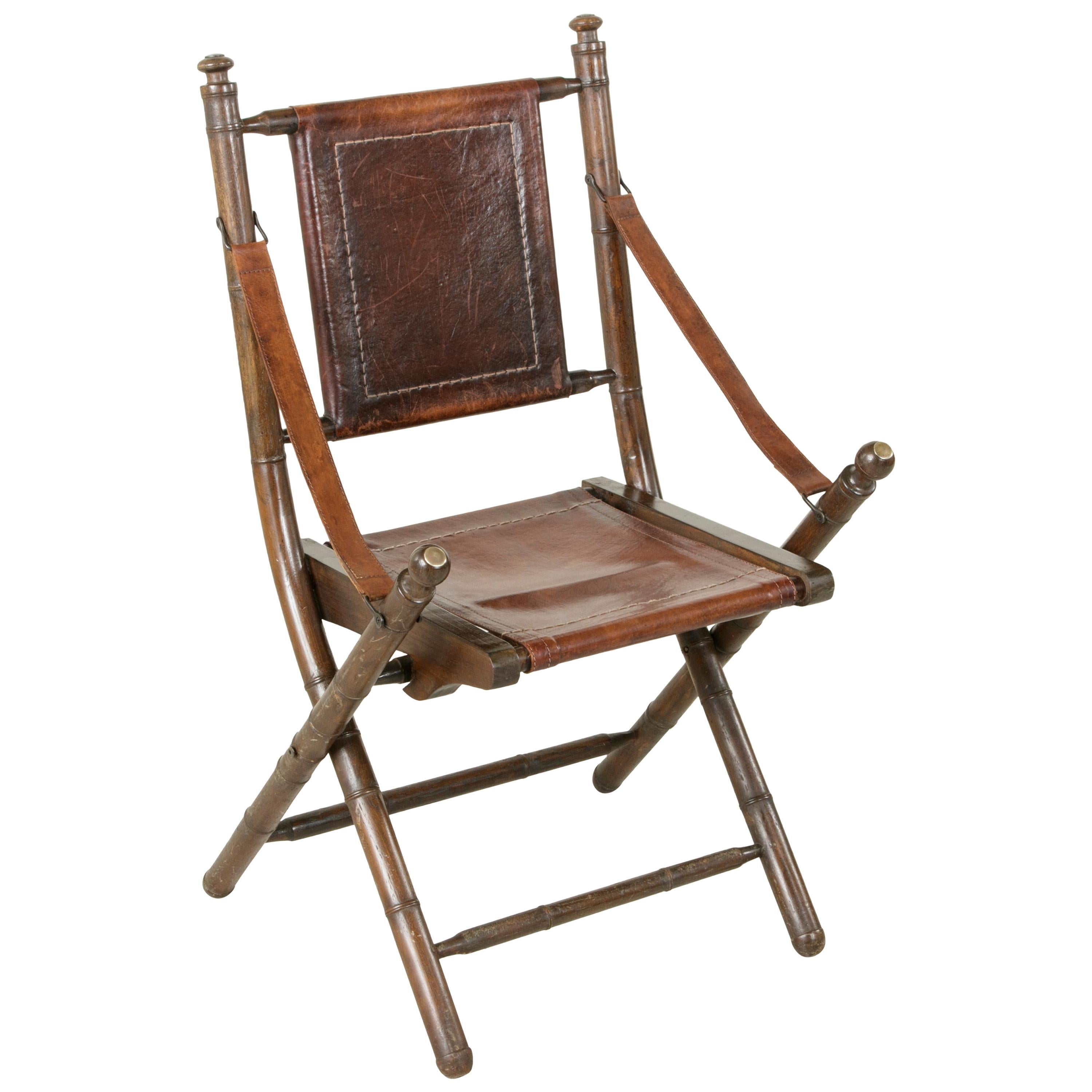 bamboo folding chair stadium chairs with armrest french colonial walnut faux deck circa 1900 for sale