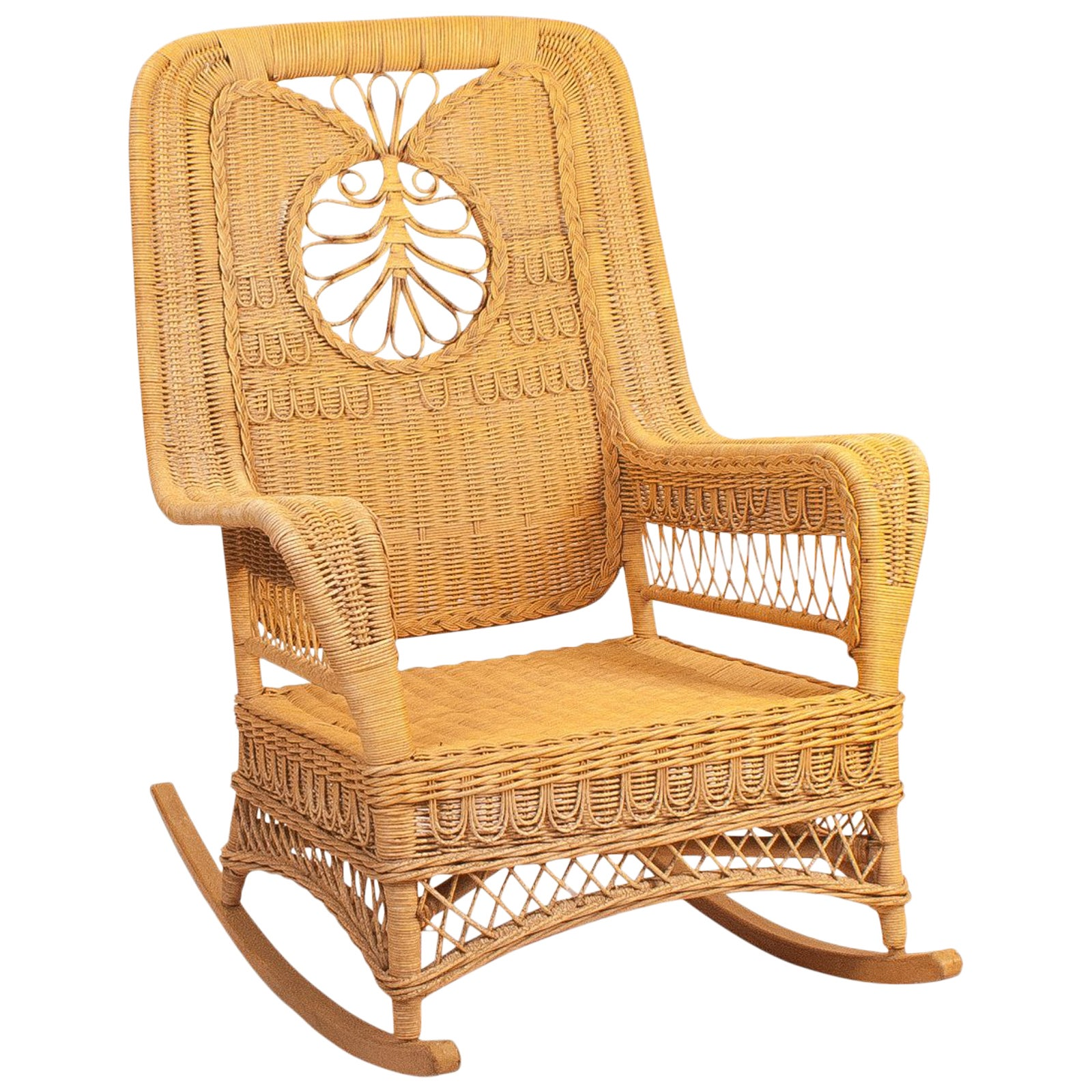 Wicker Rocking Chair Vintage Hawaiian Wicker Rocking Chair 1950s