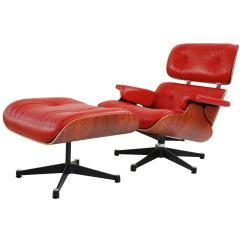 Vitra Lounge Chair Hanging Egg New Zealand Red Leather Santos Rosewood Charles Ray Eames 2007 For Sale