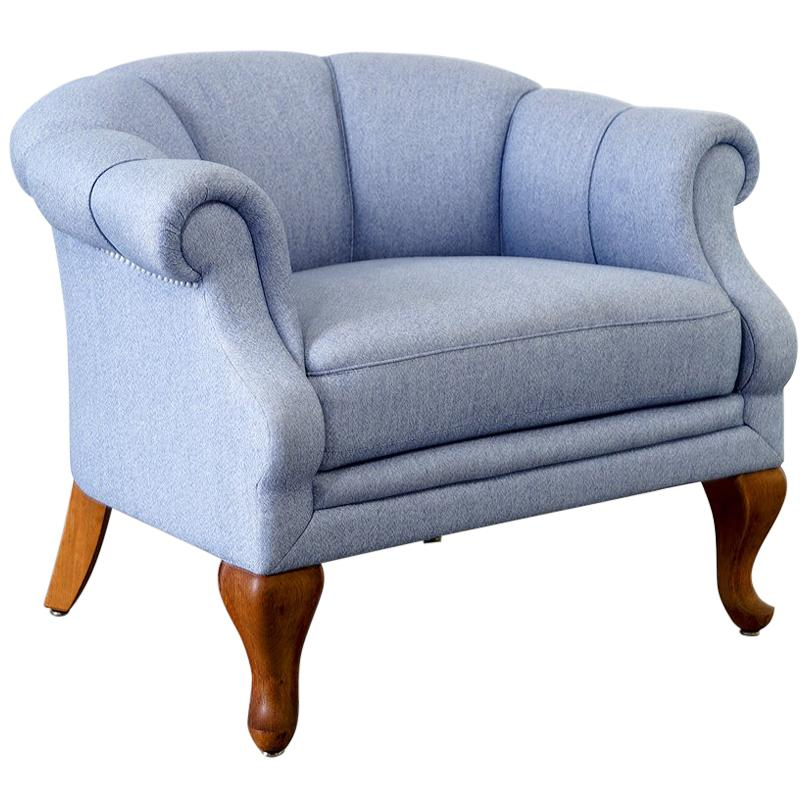 Blue Chair And A Half Upholstered Half Round Armchair Made In The 1940s