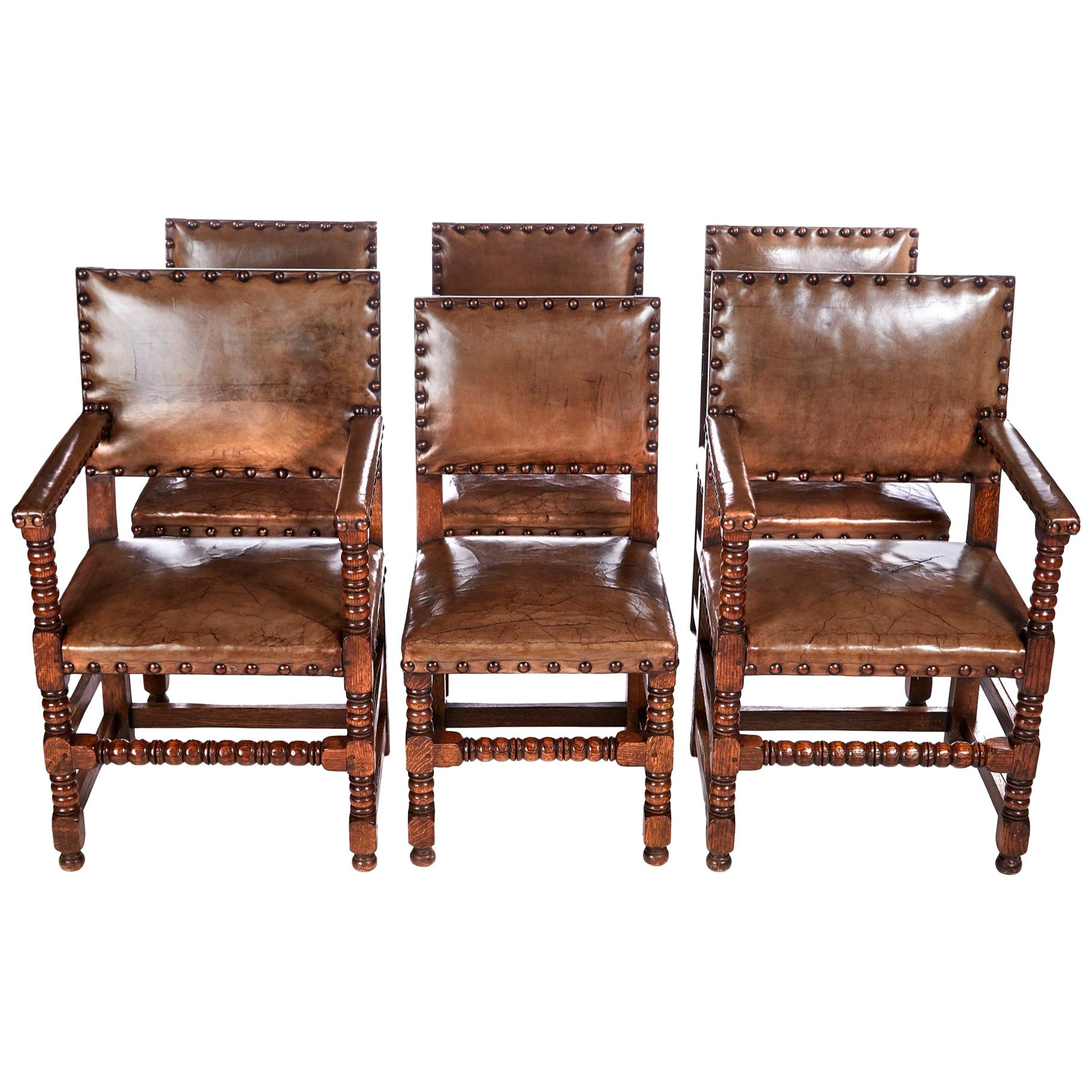 antique oak dining chairs round tables and leather set four kitchen comfy quality of 6
