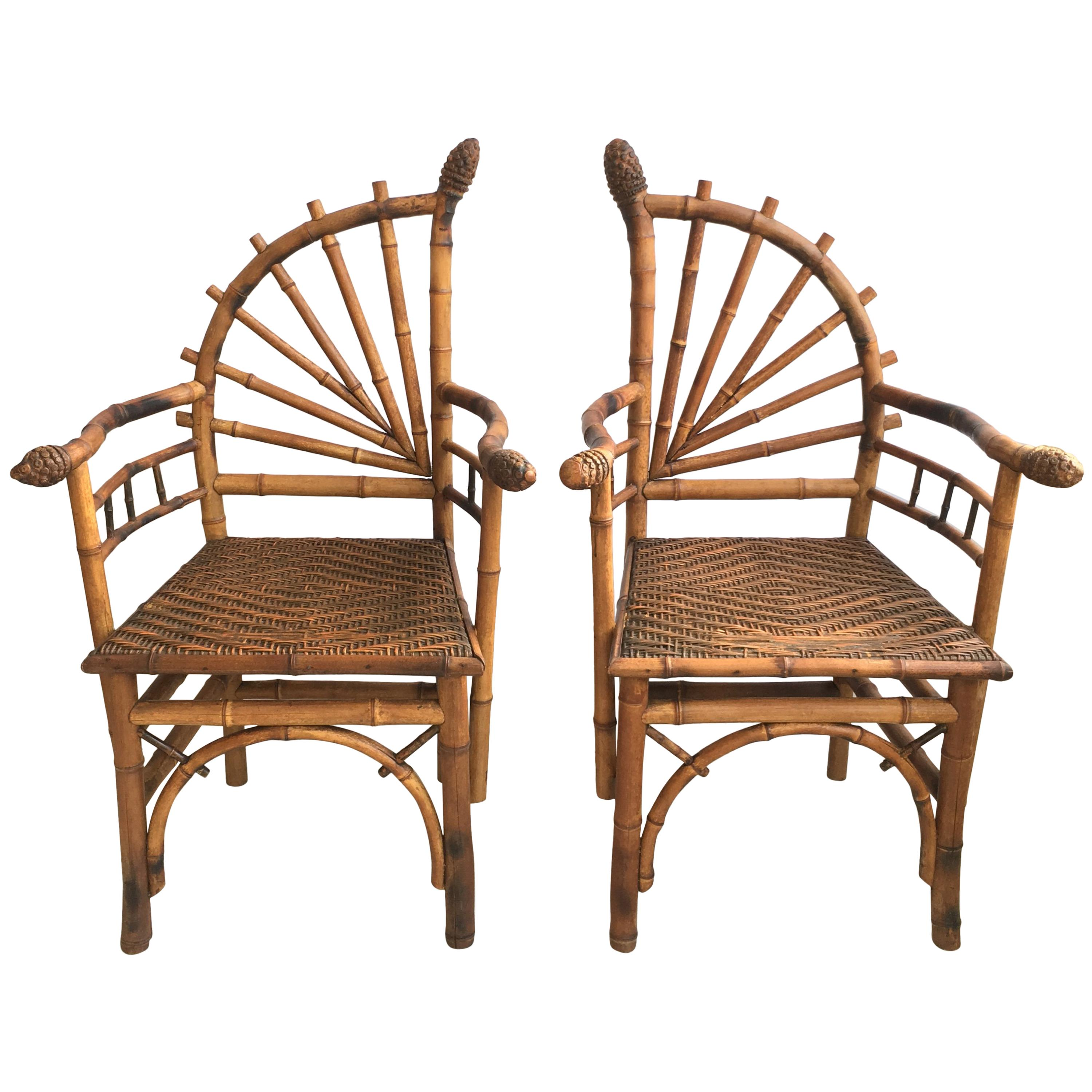 Bamboo Chairs Decorative Pair Of Antique Bamboo Chairs