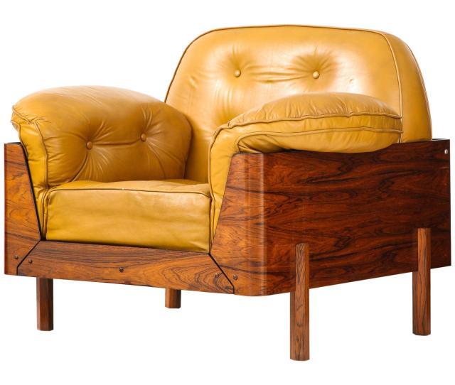 Brazilian Lounge Chair In Jacaranda And Yellow Leather