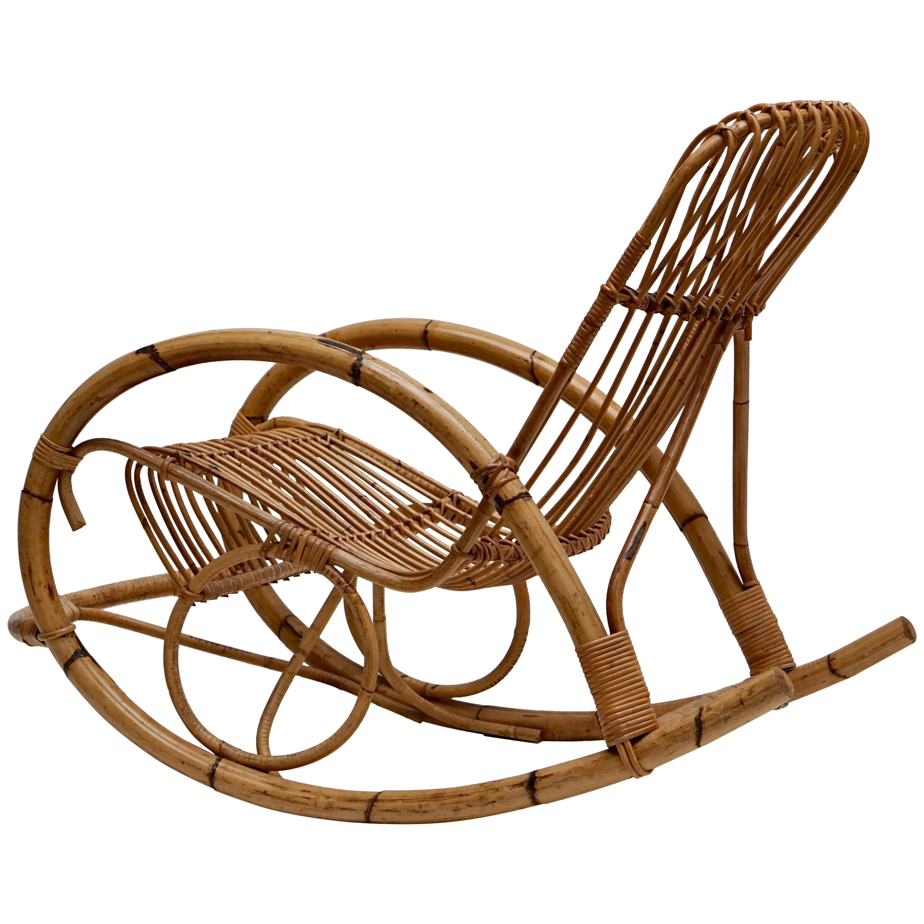 Wicker Rocking Chair Franco Albini Style Wicker Bamboo Rocking Chair