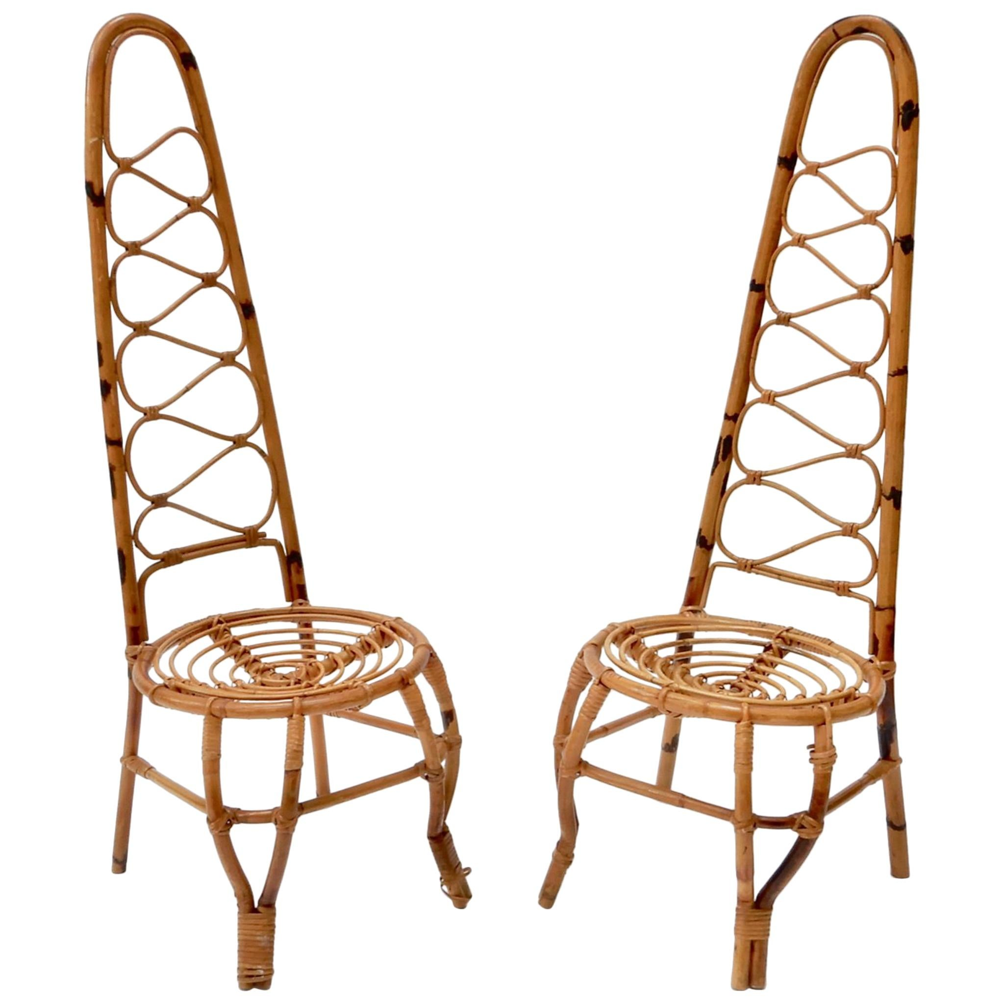 bamboo chairs hammock chair accessories french riviera midcentury set of six at 1stdibs two rattan and on the 1960s