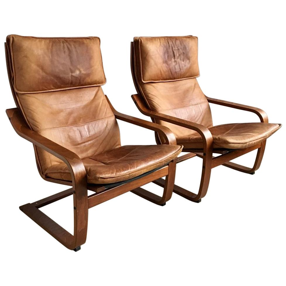 poang chairs chippendale arm chair set of two vintage cognas leather by noboru nakamura for ikea 1999