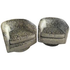 Swivel Club Chair Hanging Knot Drexel Heritage Barrel Chairs 1960s Usa For Sale At 1stdibs Pair Of Milo Baughman Style Shaped