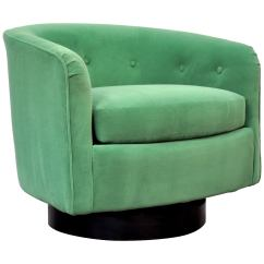 Green Velvet Swivel Chair Deluxe Massage Milo Baughman For Thayer Coggin Emerald Lounge Sale