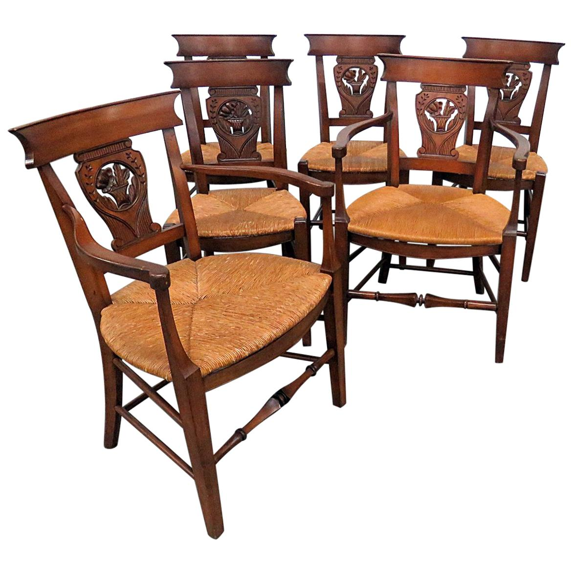 Dining Chair Set Of 6 Set Of 6 French Provincial Style Dining Chairs