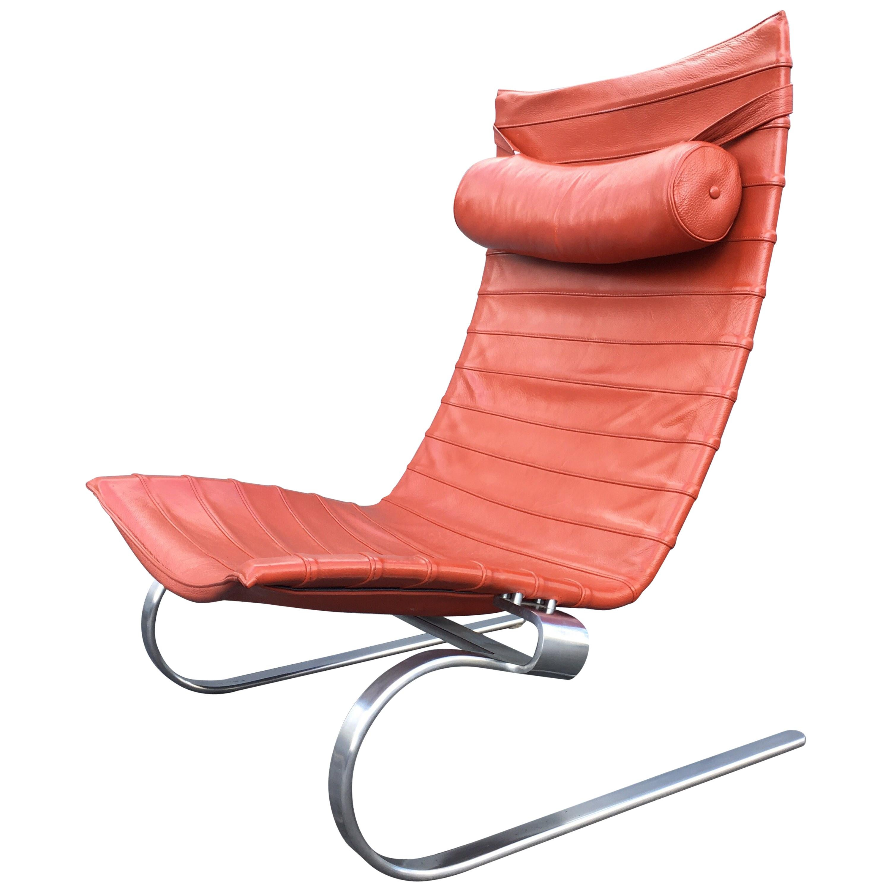 lounge chair leather hanging in room poul kjaerholm pk 20 for sale at 1stdibs