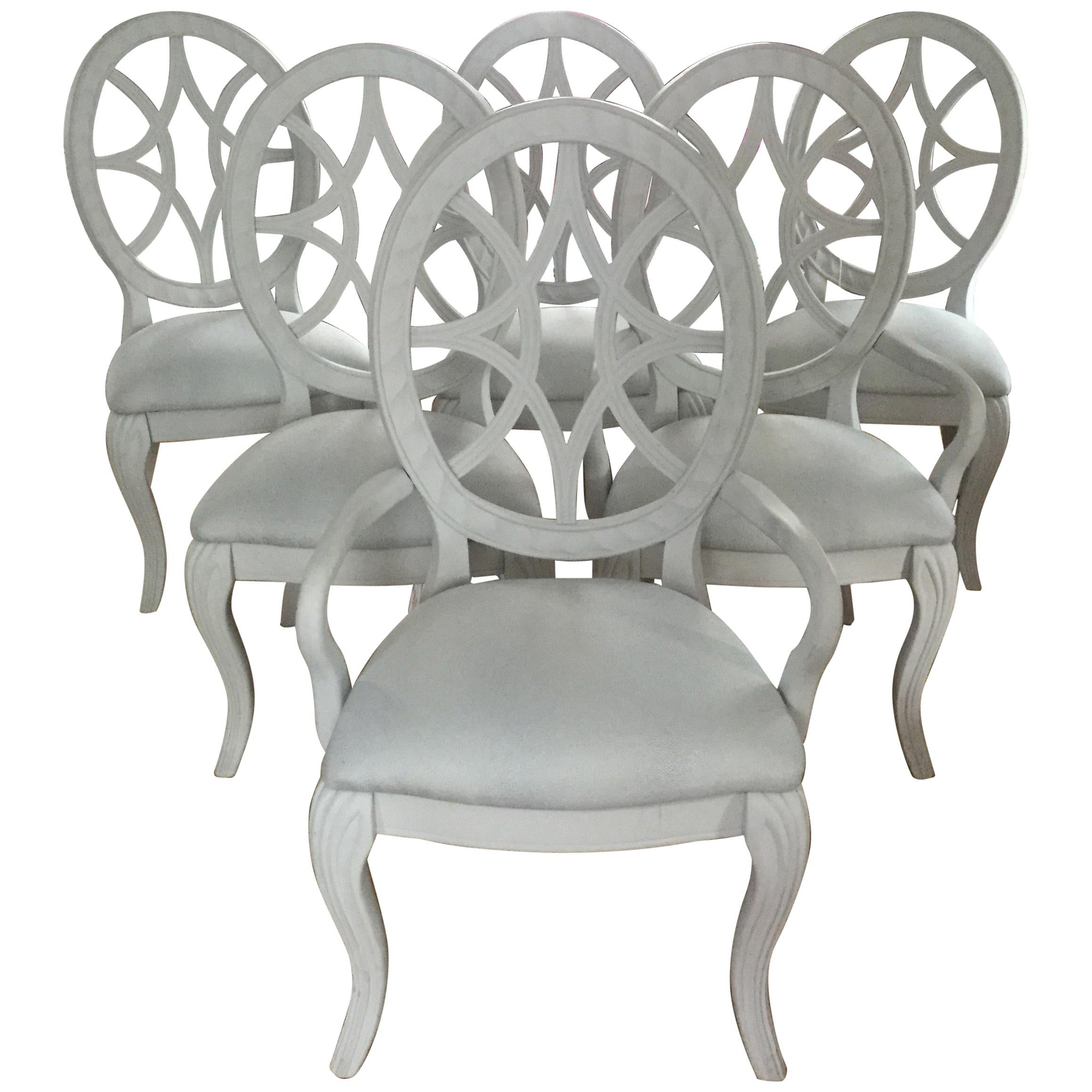 grey painted chairs couch and rocking chair pretty set of 6 oval back dove dining for sale