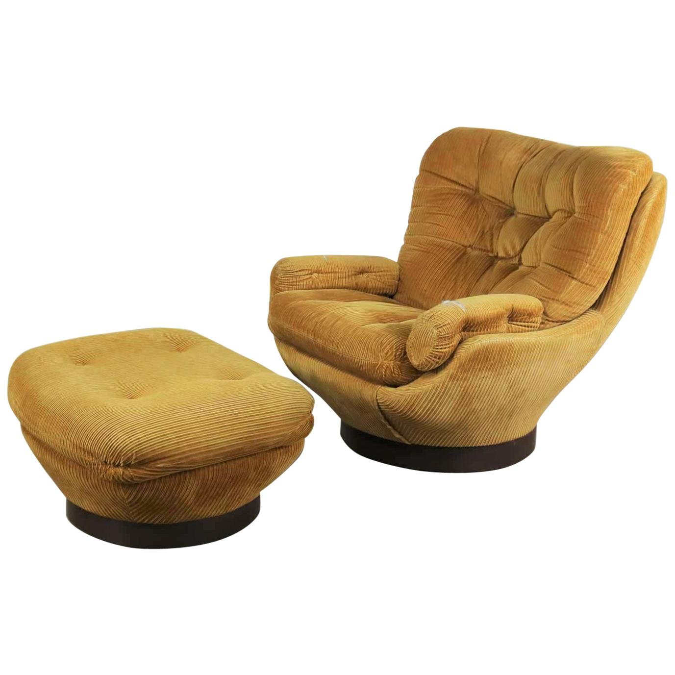 Vintage Swivel Chair Vintage Modern Selig Swivel Chair And Ottoman Style Of Joe Columbo Elda Chair